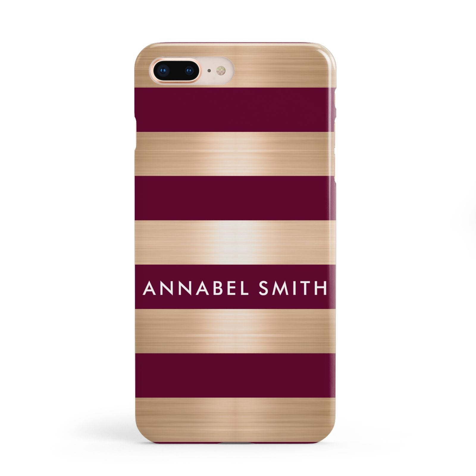 Personalised Burgundy Gold Name Initials Apple iPhone 8 Plus Case