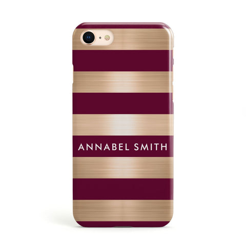 Personalised Burgundy Gold Name Initials Apple iPhone Case