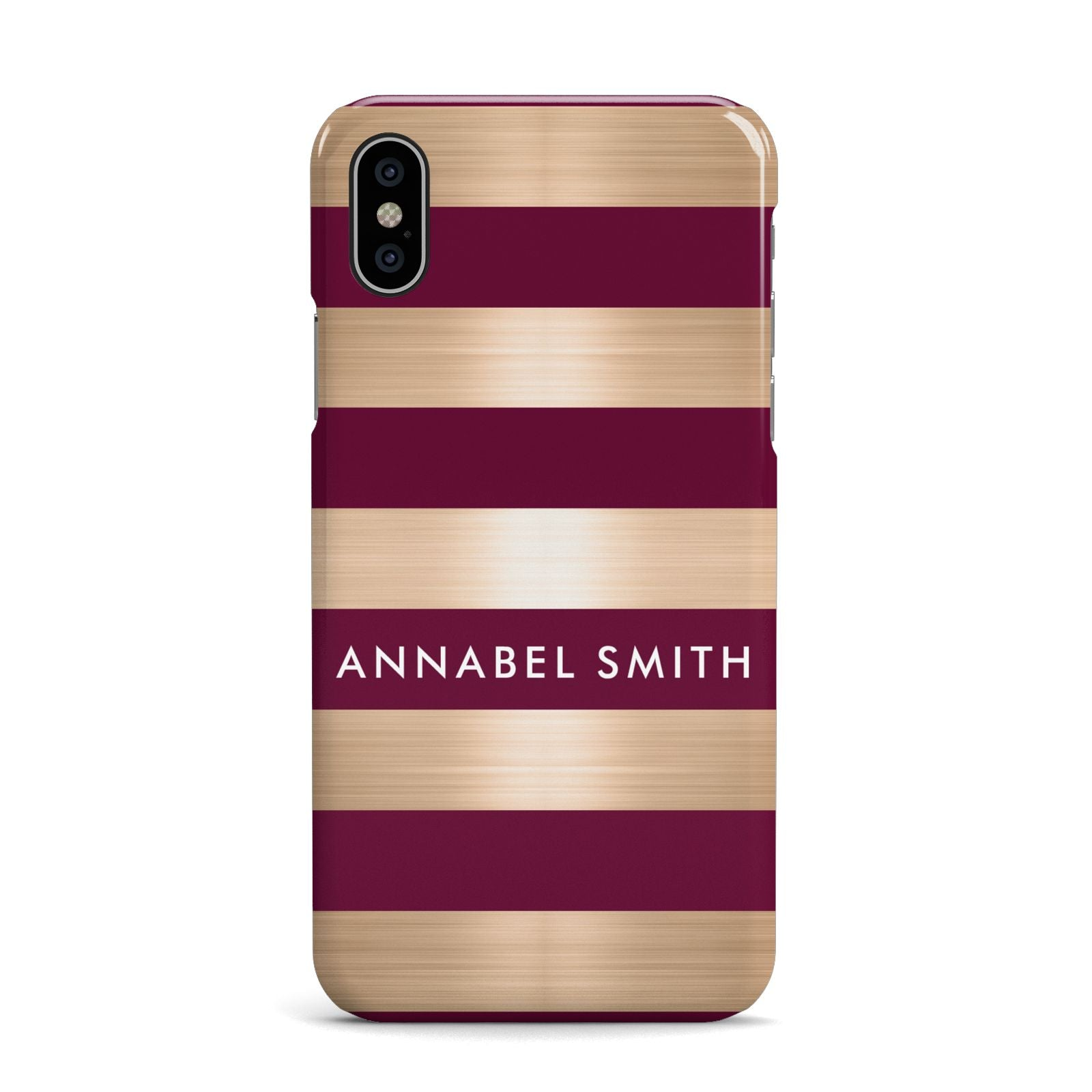 Personalised Burgundy Gold Name Initials Apple iPhone X Case