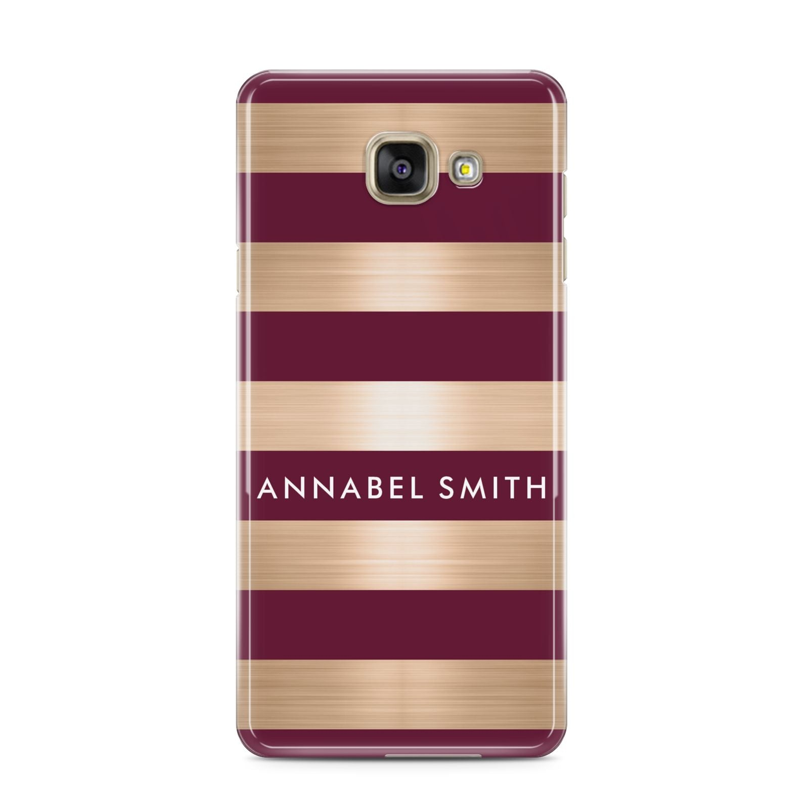 Personalised Burgundy Gold Name Initials Samsung Galaxy A3 2016 Case on gold phone