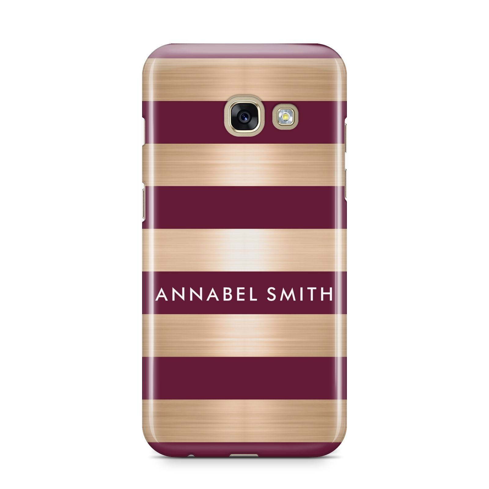 Personalised Burgundy Gold Name Initials Samsung Galaxy A3 2017 Case on gold phone