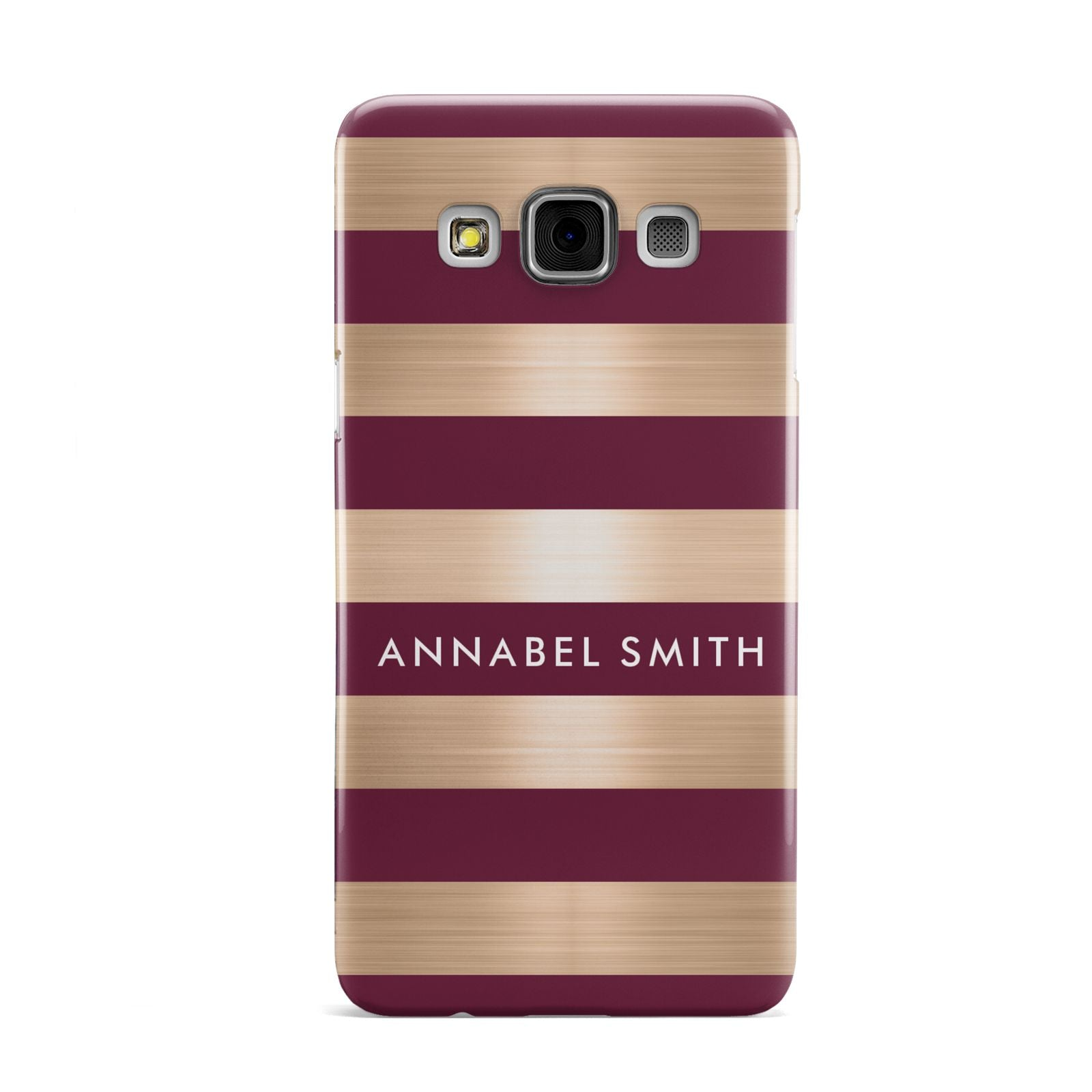 Personalised Burgundy Gold Name Initials Samsung Galaxy A3 Case