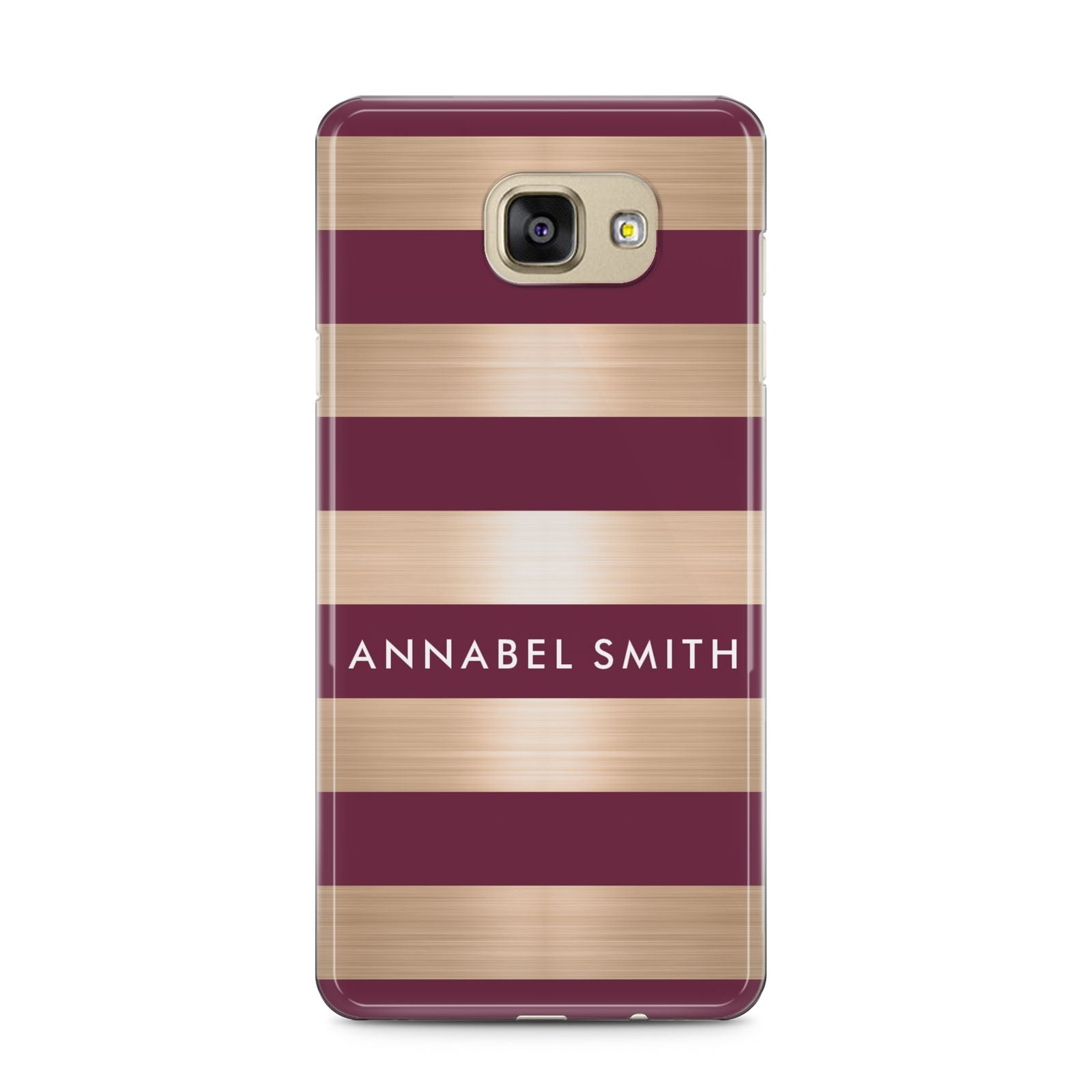 Personalised Burgundy Gold Name Initials Samsung Galaxy A5 2016 Case on gold phone