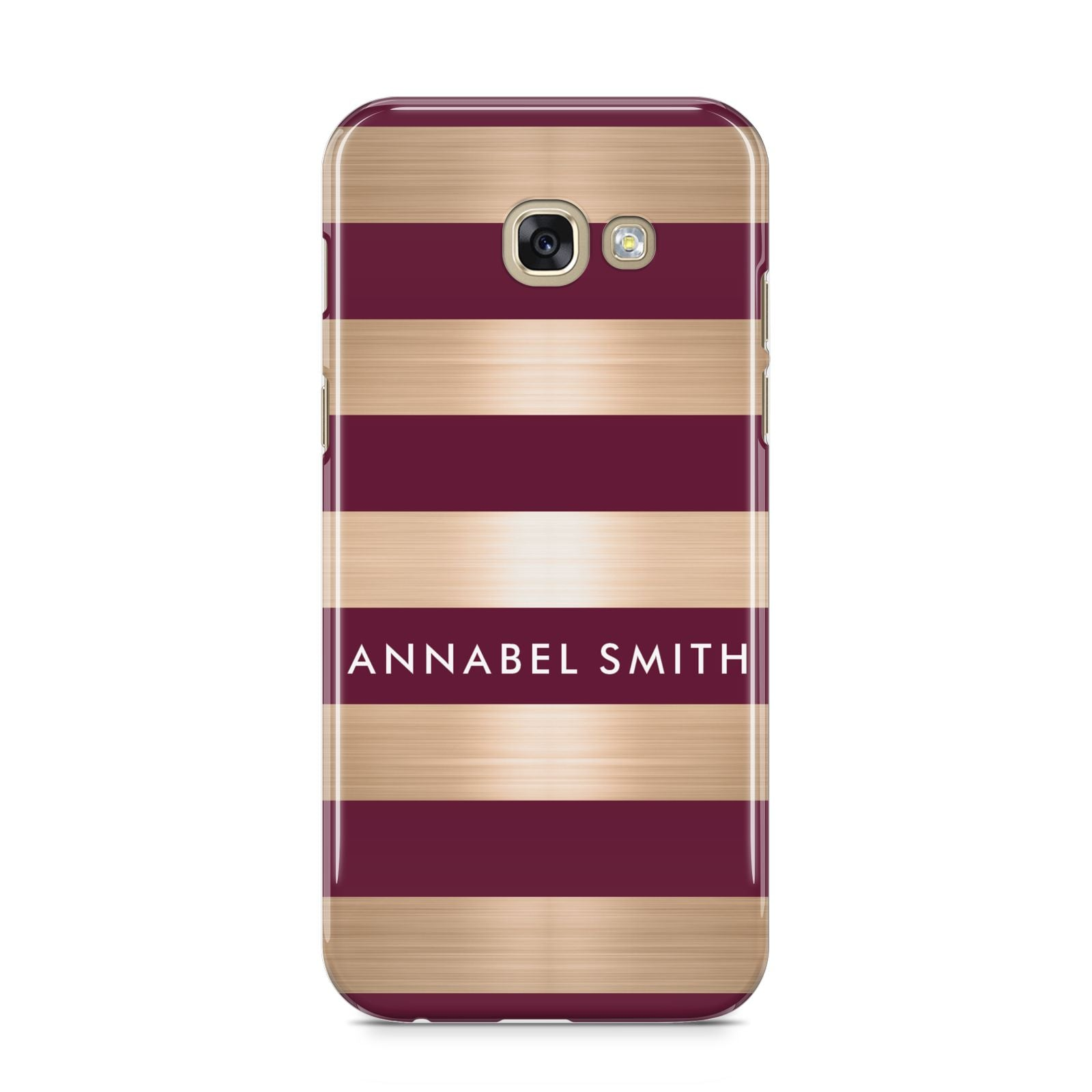 Personalised Burgundy Gold Name Initials Samsung Galaxy A5 2017 Case on gold phone