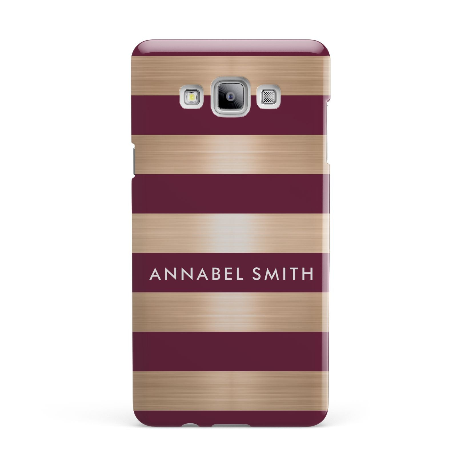 Personalised Burgundy Gold Name Initials Samsung Galaxy A7 2015 Case
