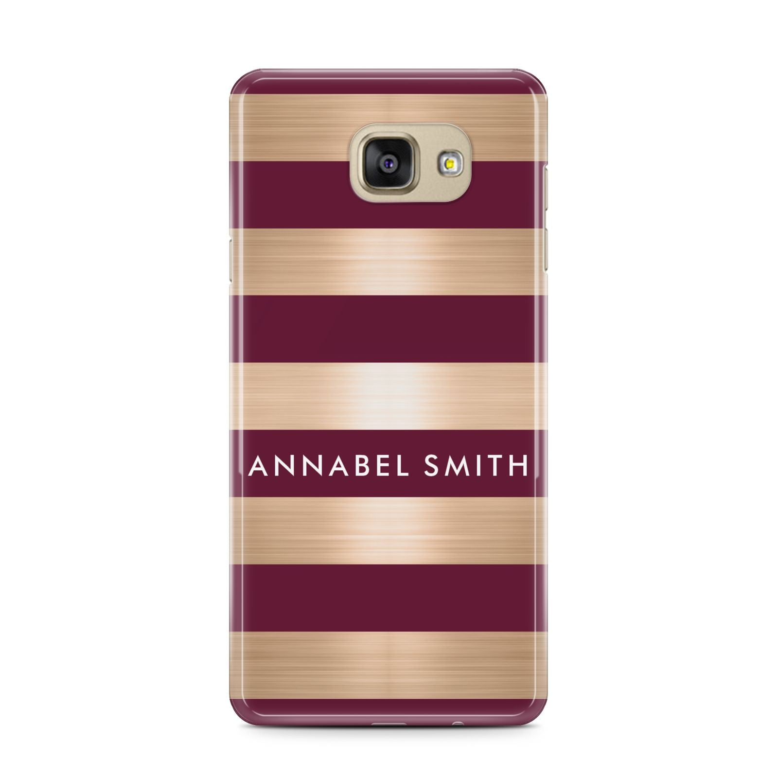 Personalised Burgundy Gold Name Initials Samsung Galaxy A7 2016 Case on gold phone