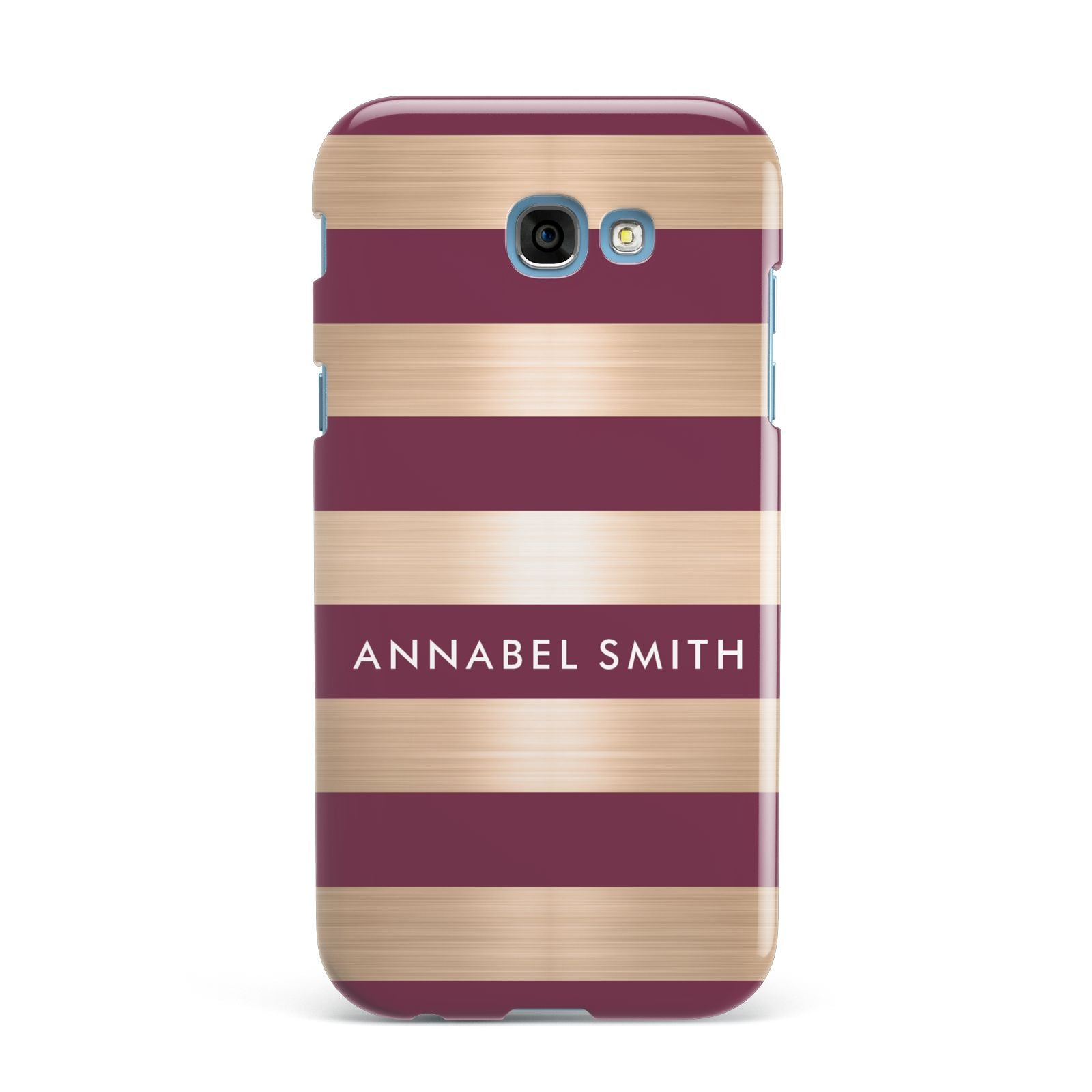 Personalised Burgundy Gold Name Initials Samsung Galaxy A7 2017 Case
