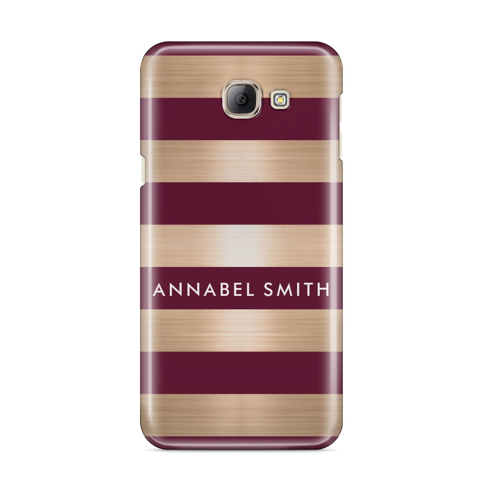 Personalised Burgundy Gold Name Initials Samsung Galaxy A8 2016 Case