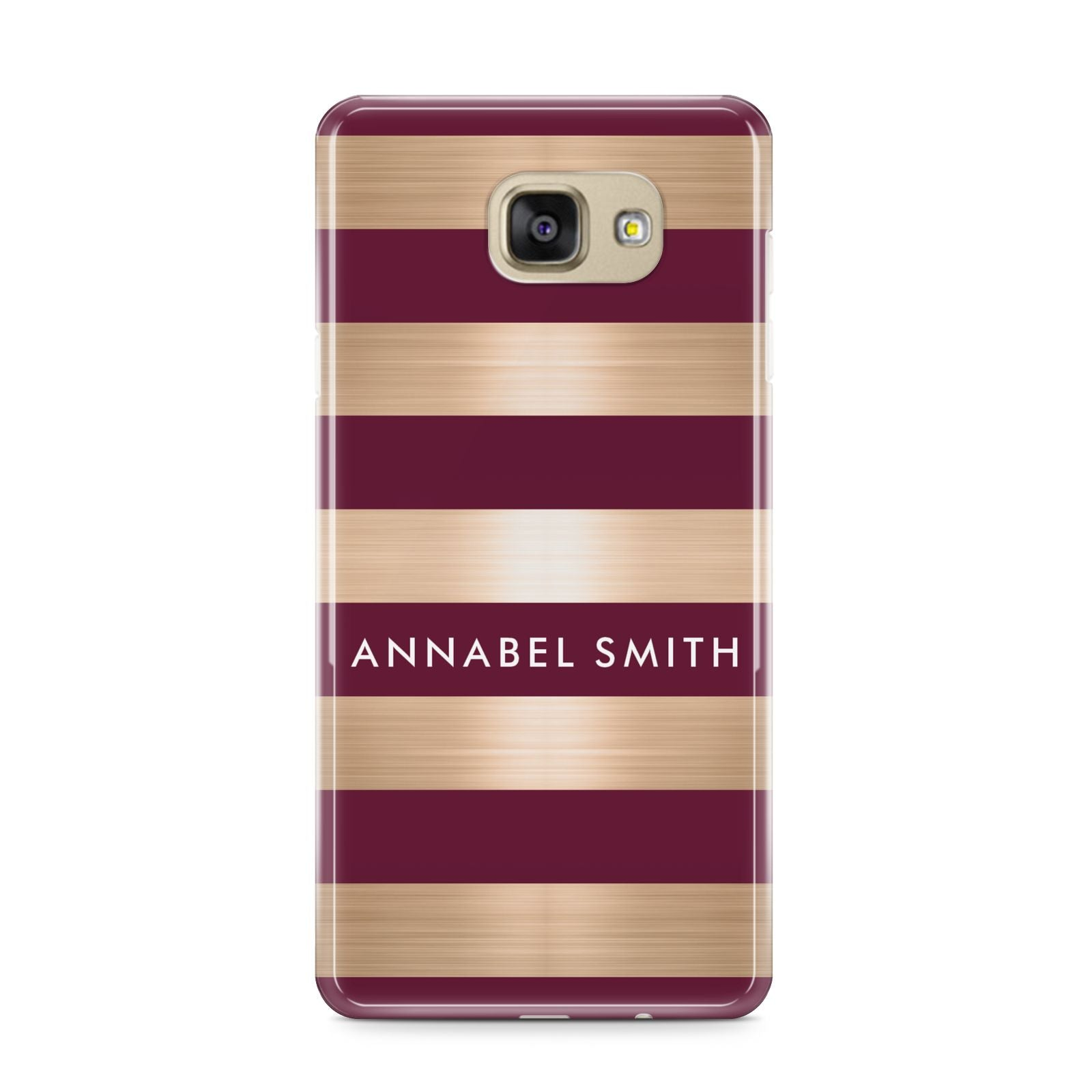 Personalised Burgundy Gold Name Initials Samsung Galaxy A9 2016 Case on gold phone