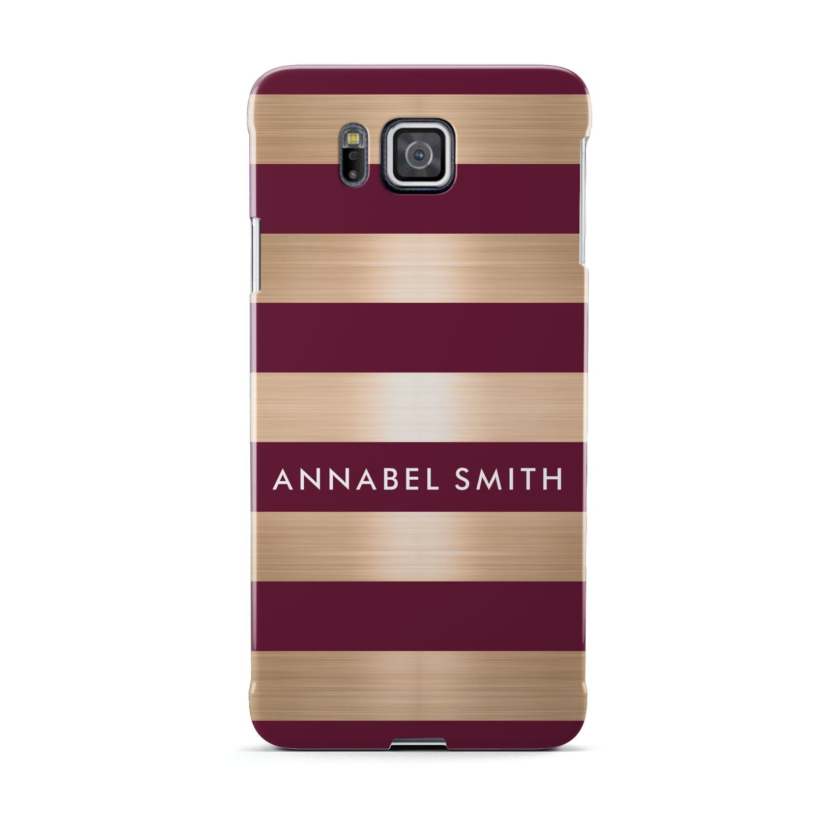 Personalised Burgundy Gold Name Initials Samsung Galaxy Alpha Case