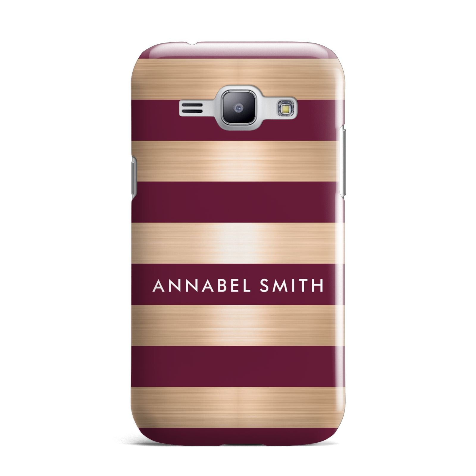Personalised Burgundy Gold Name Initials Samsung Galaxy J1 2015 Case