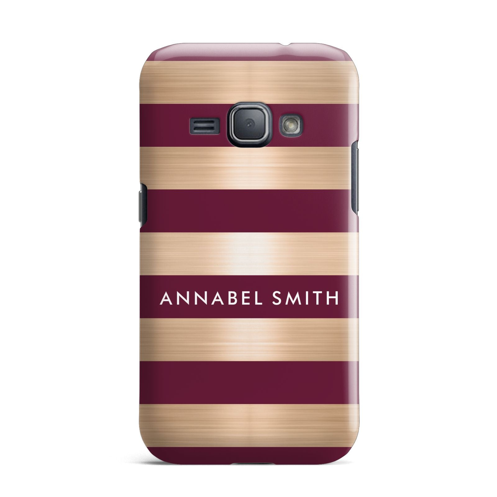 Personalised Burgundy Gold Name Initials Samsung Galaxy J1 2016 Case
