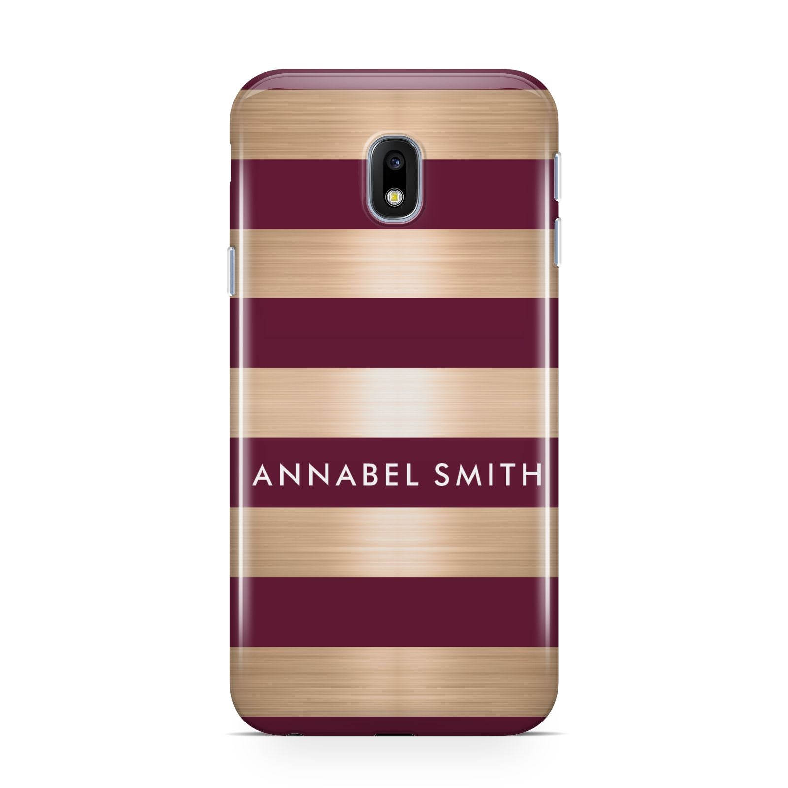 Personalised Burgundy Gold Name Initials Samsung Galaxy J3 2017 Case