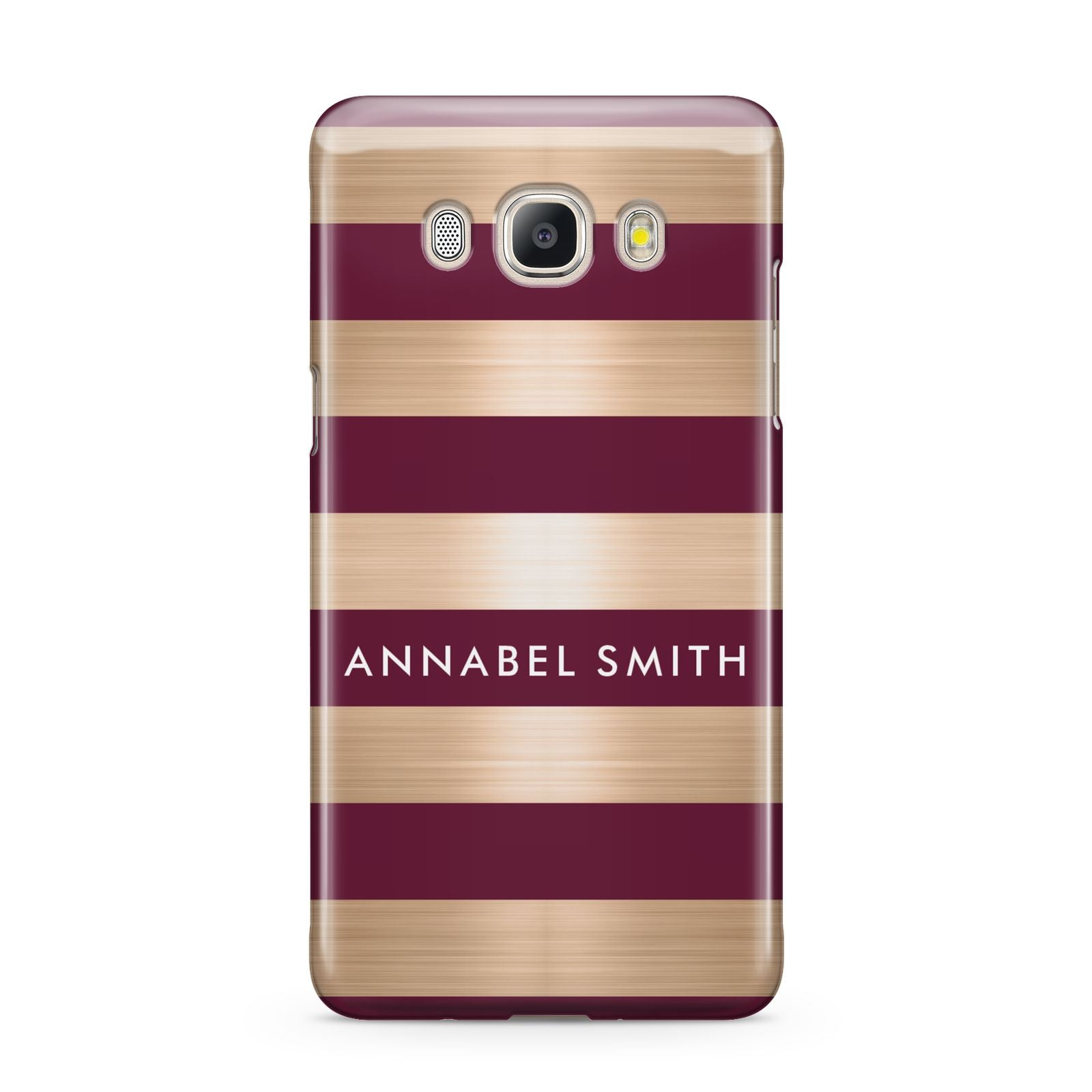 Personalised Burgundy Gold Name Initials Samsung Galaxy J5 2016 Case