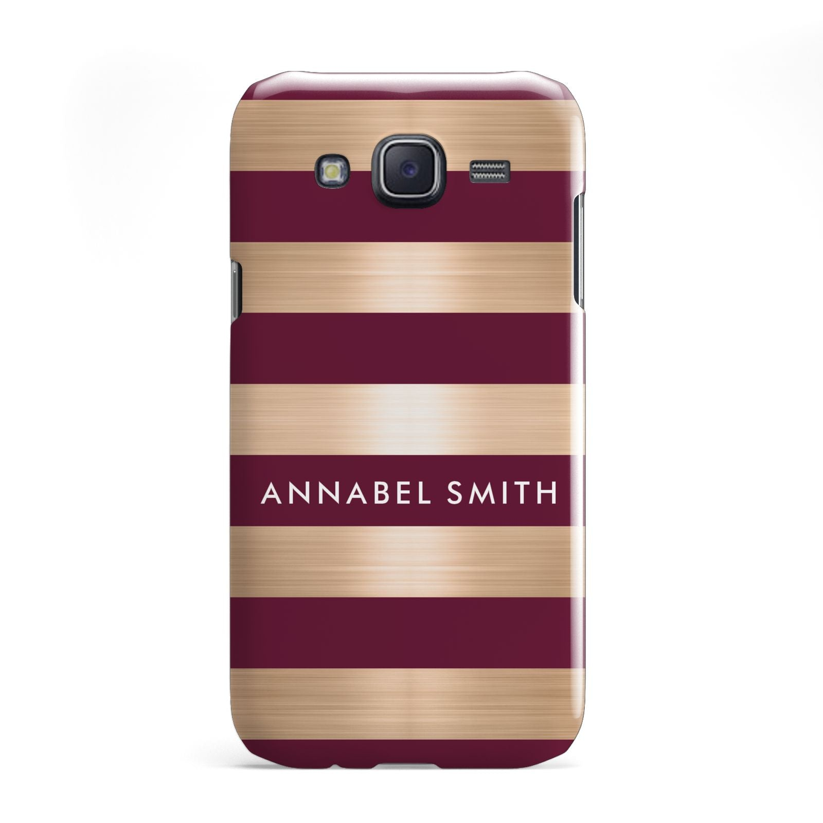 Personalised Burgundy Gold Name Initials Samsung Galaxy J5 Case