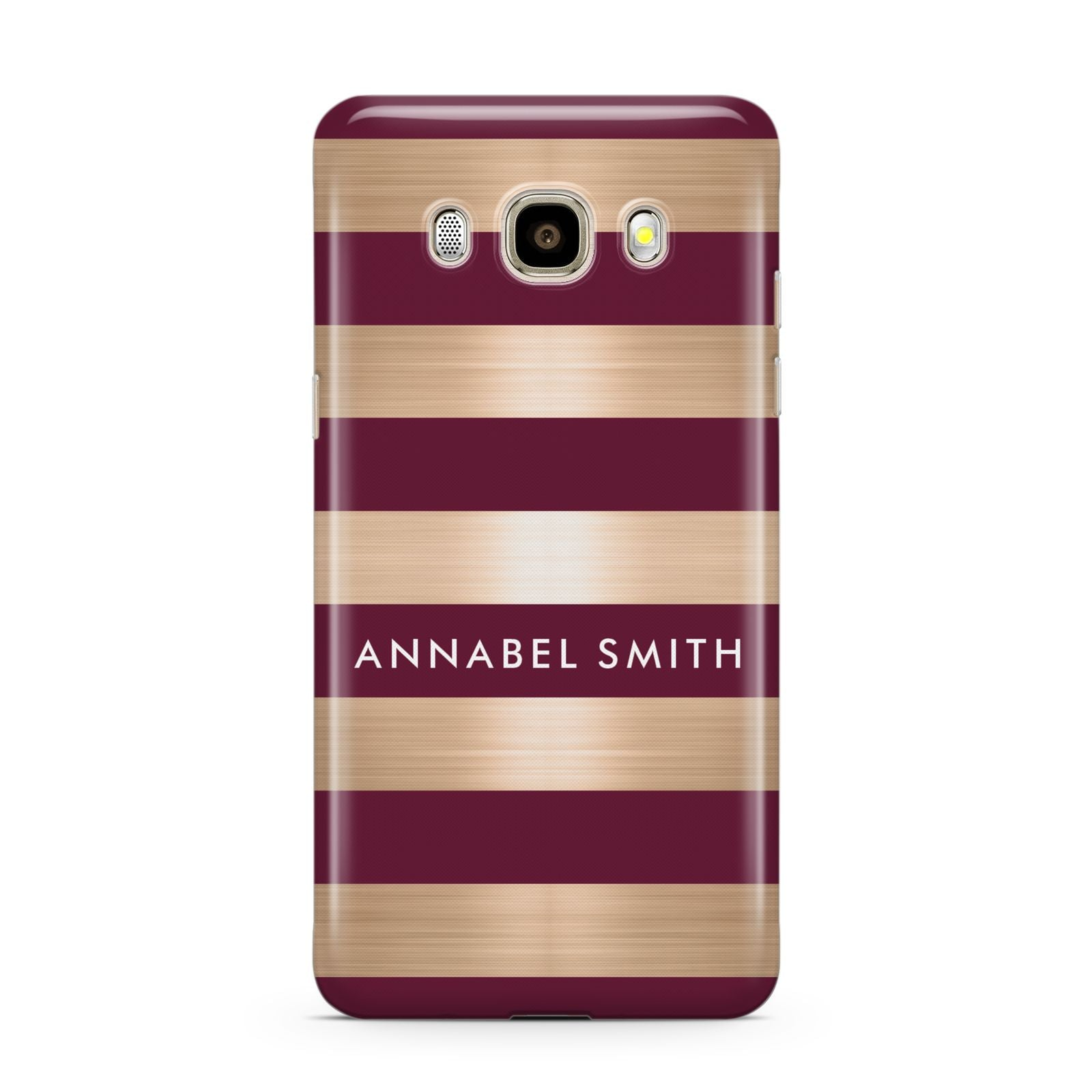 Personalised Burgundy Gold Name Initials Samsung Galaxy J7 2016 Case on gold phone
