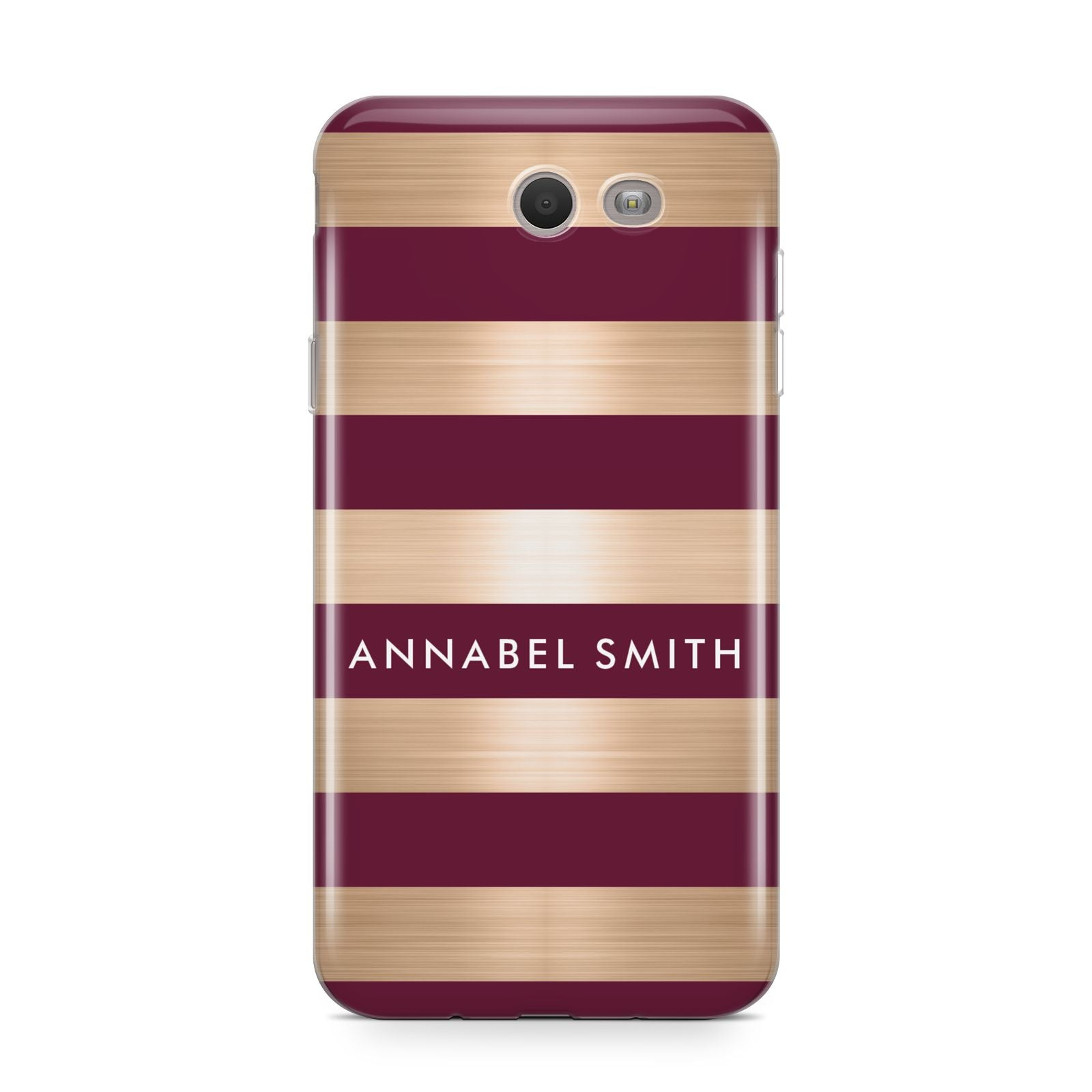 Personalised Burgundy Gold Name Initials Samsung Galaxy J7 2017 Case