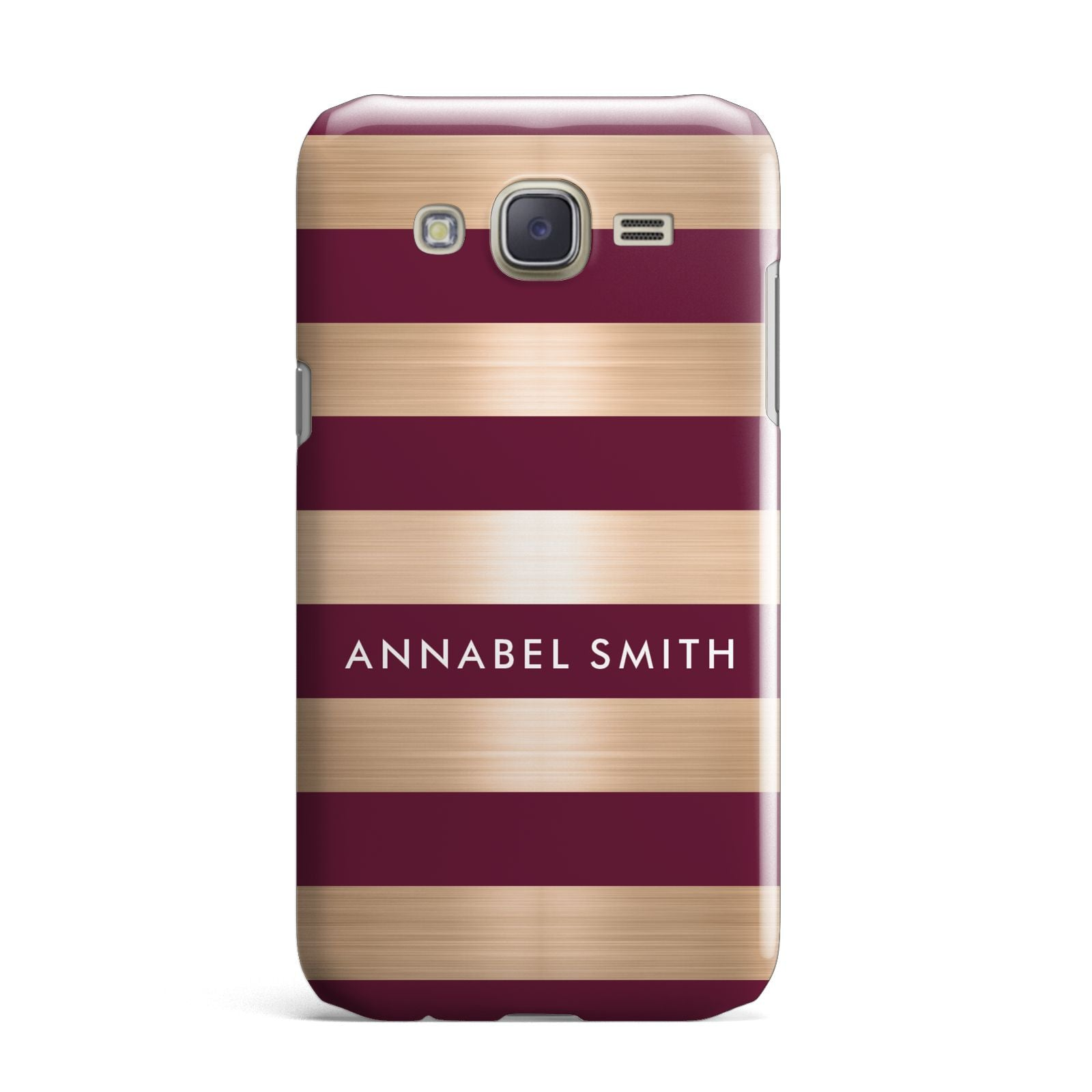 Personalised Burgundy Gold Name Initials Samsung Galaxy J7 Case