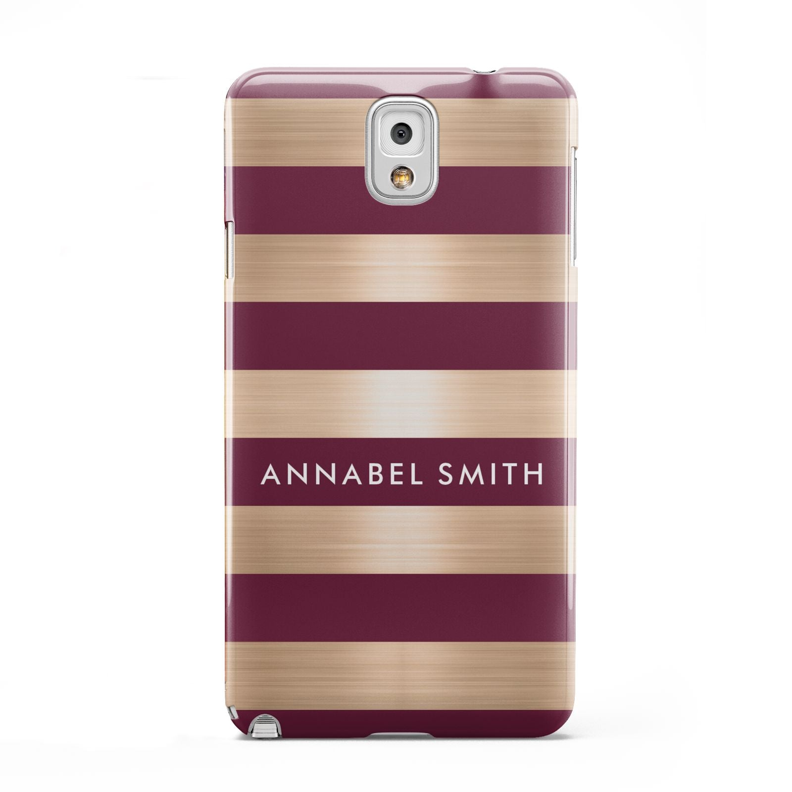 Personalised Burgundy Gold Name Initials Samsung Galaxy Note 3 Case