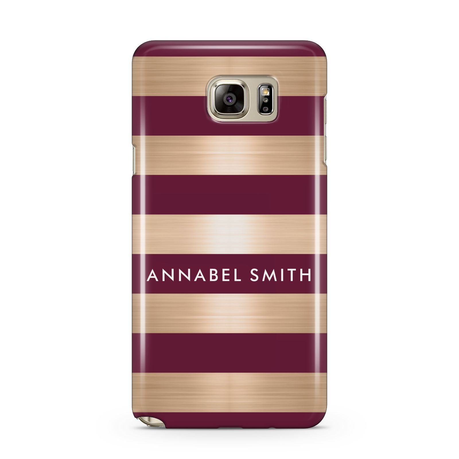 Personalised Burgundy Gold Name Initials Samsung Galaxy Note 5 Case