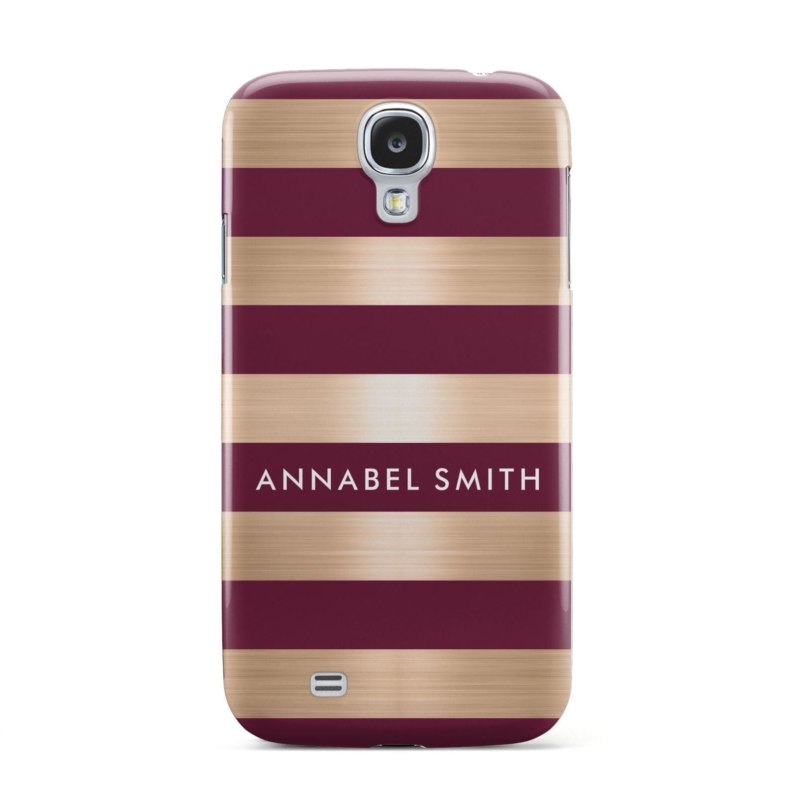 Personalised Burgundy Gold Name Initials Samsung Galaxy S4 Case