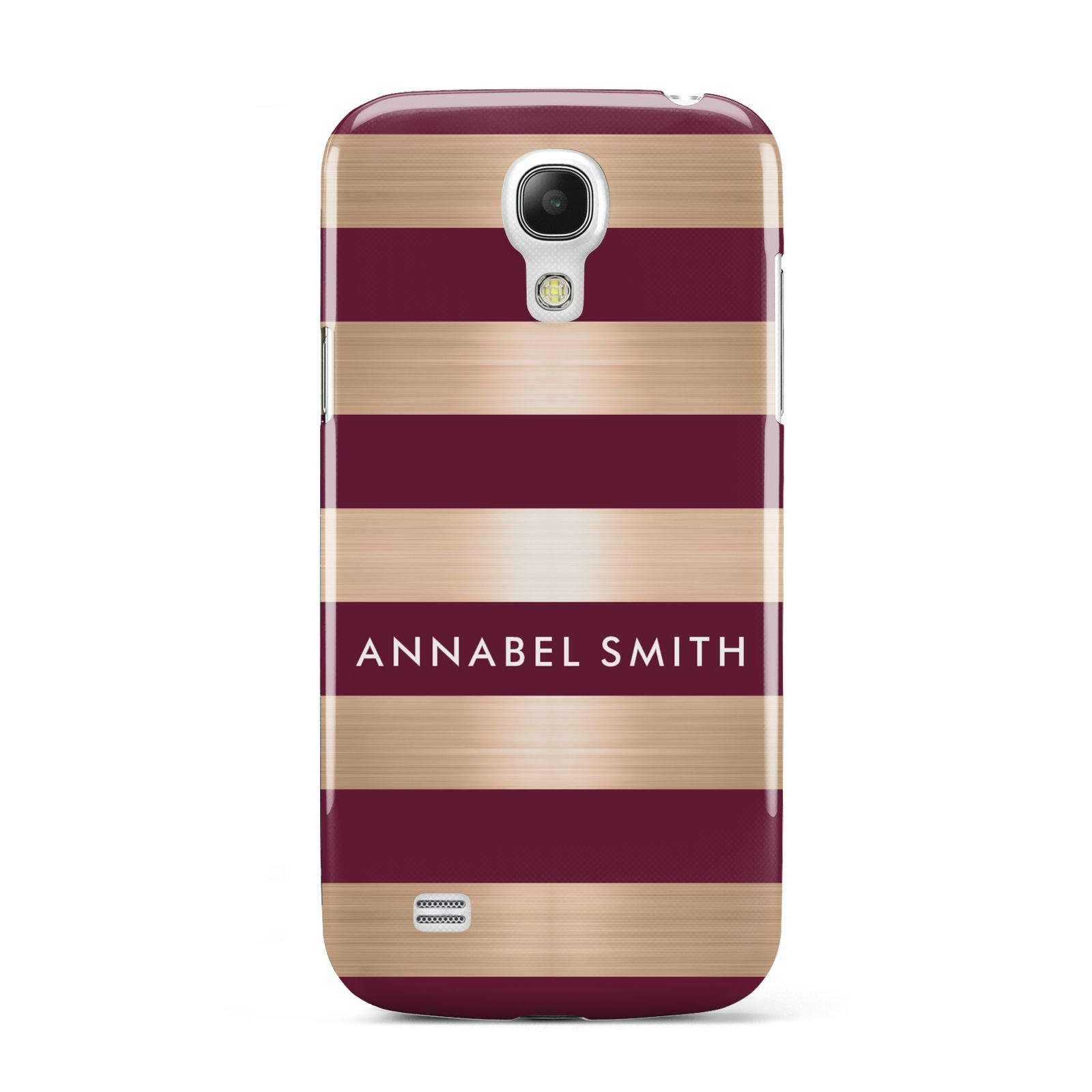 Personalised Burgundy Gold Name Initials Samsung Galaxy S4 Mini Case