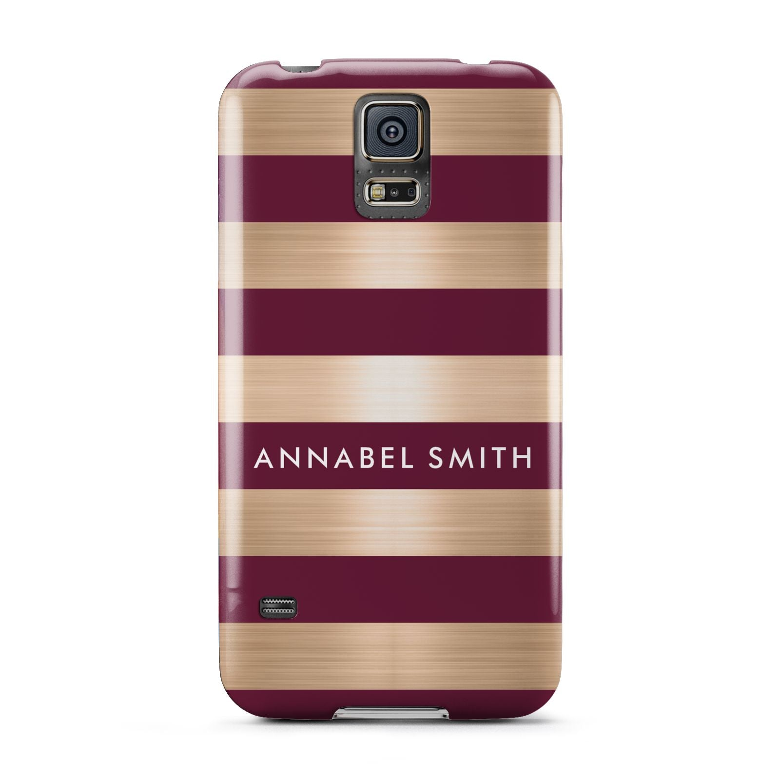 Personalised Burgundy Gold Name Initials Samsung Galaxy S5 Case