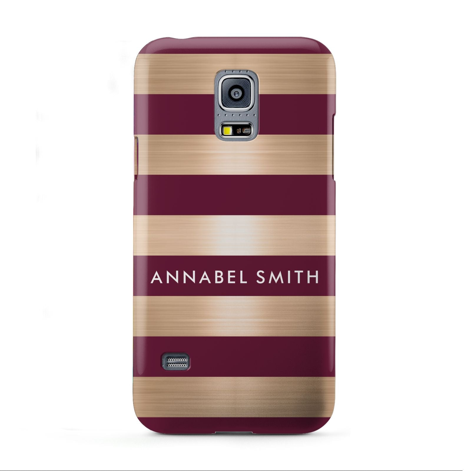 Personalised Burgundy Gold Name Initials Samsung Galaxy S5 Mini Case