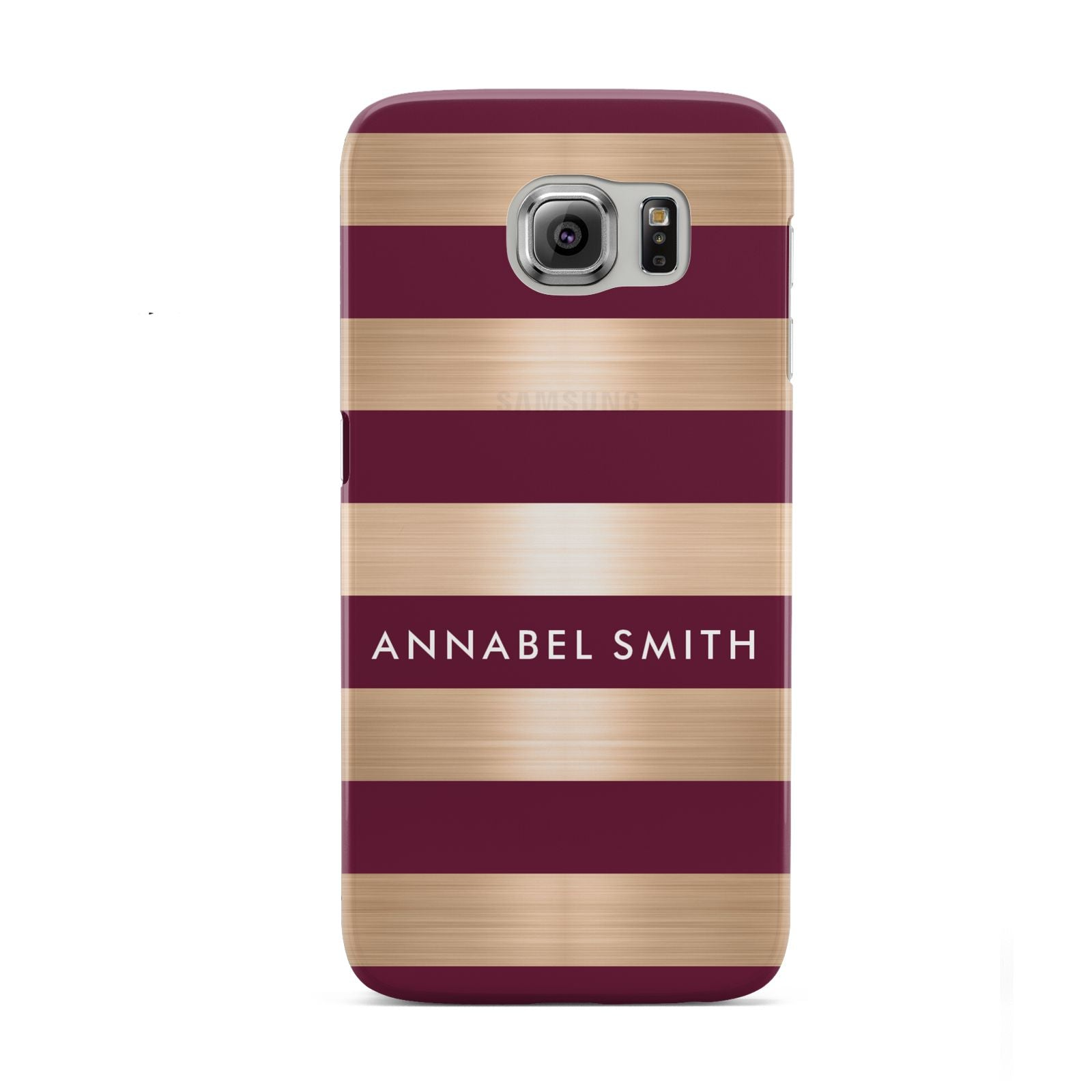 Personalised Burgundy Gold Name Initials Samsung Galaxy S6 Case
