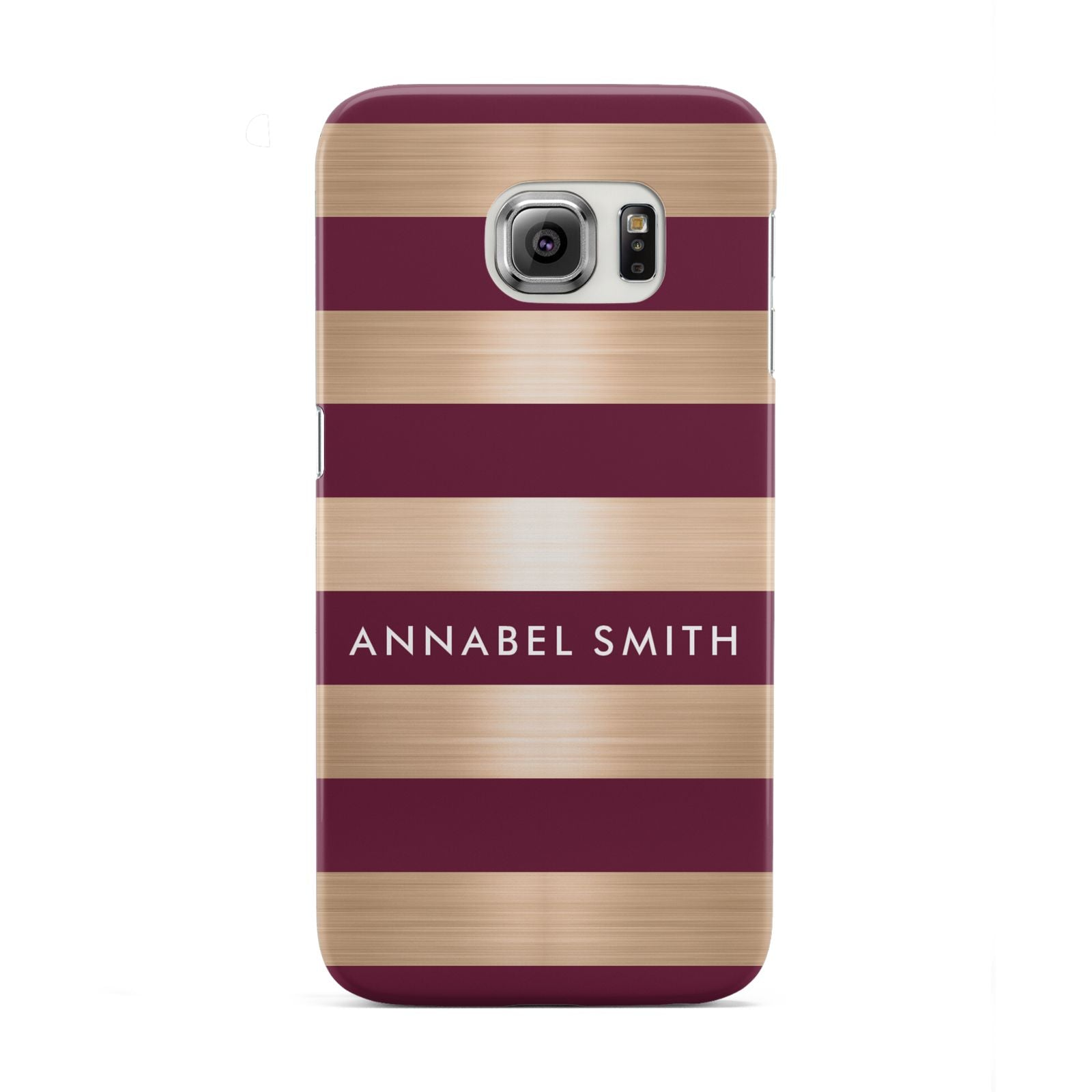 Personalised Burgundy Gold Name Initials Samsung Galaxy S6 Edge Case