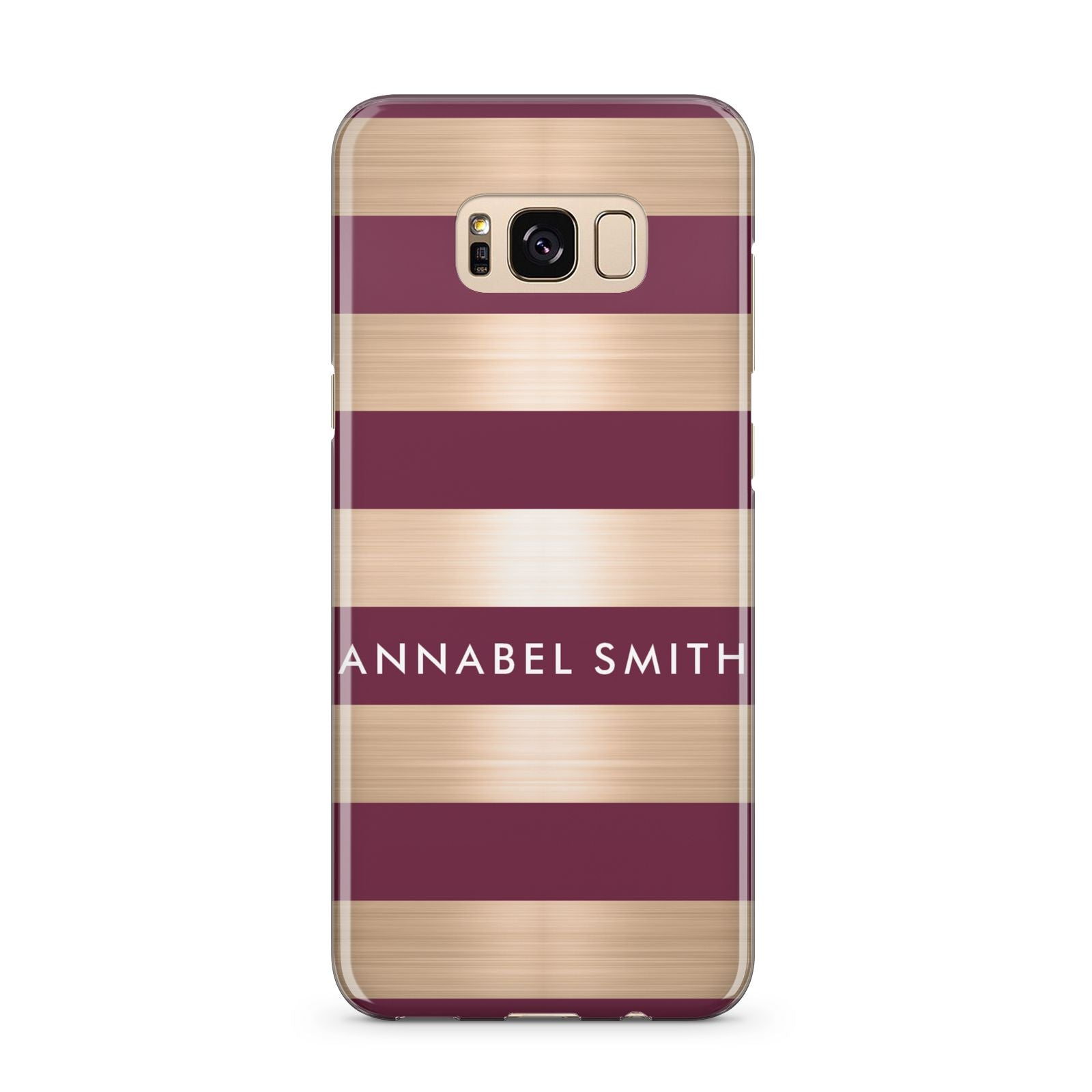 Personalised Burgundy Gold Name Initials Samsung Galaxy S8 Plus Case