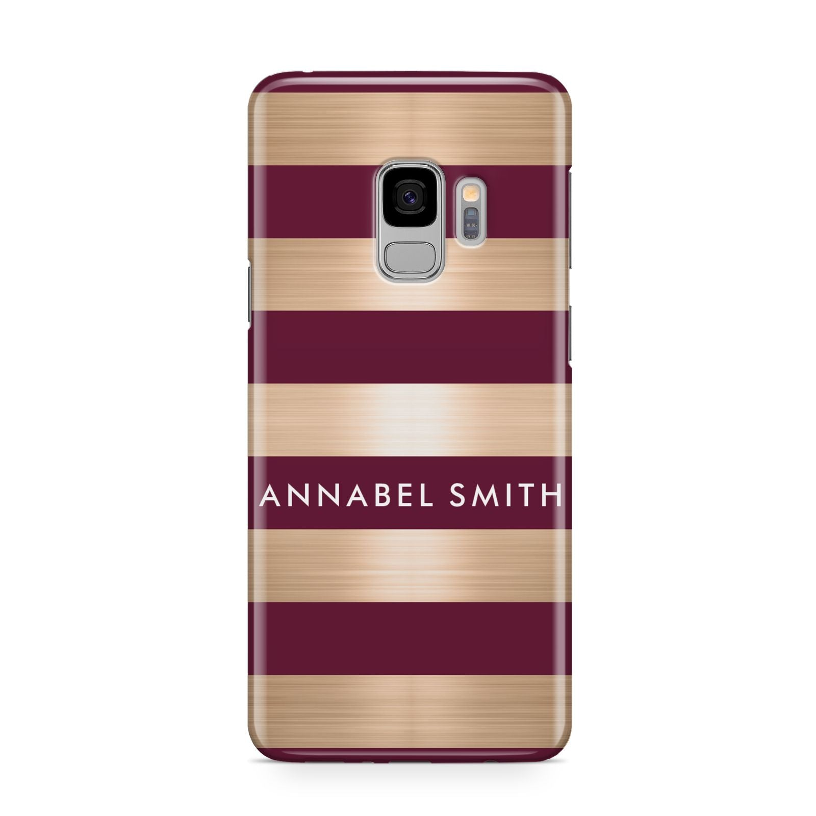 Personalised Burgundy Gold Name Initials Samsung Galaxy S9 Case