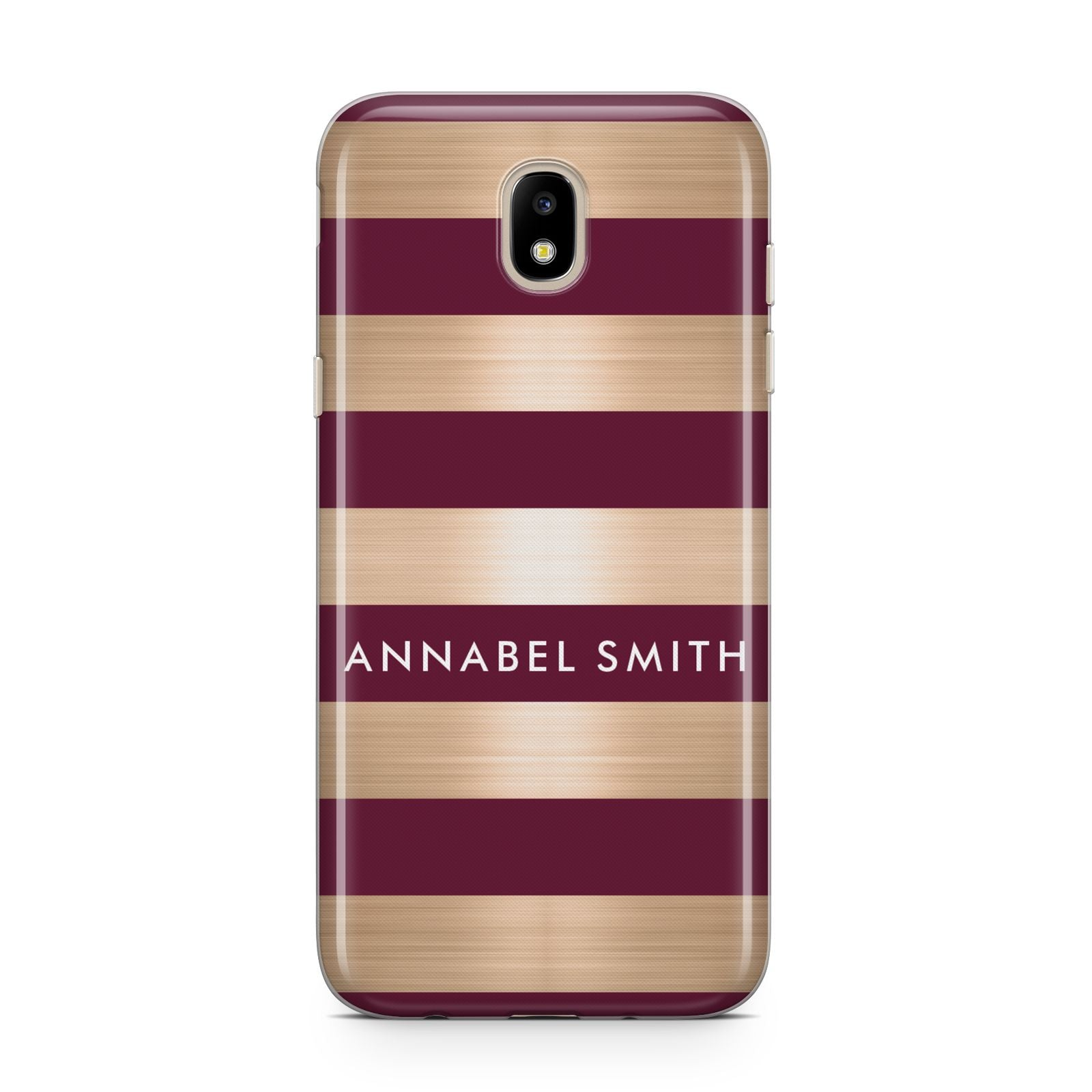 Personalised Burgundy Gold Name Initials Samsung J5 2017 Case