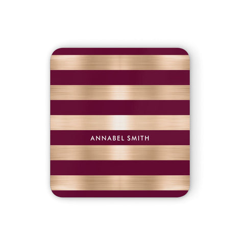 Personalised Burgundy Gold Name Initials Coasters set of 4