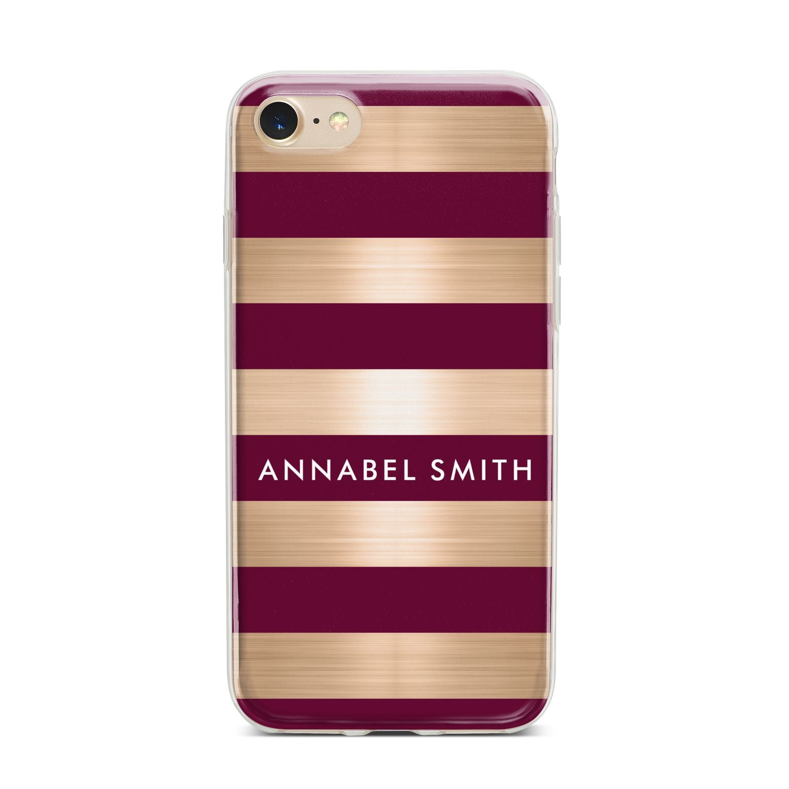 Personalised Burgundy Gold Name Initials iPhone 7 Bumper Case on Gold iPhone