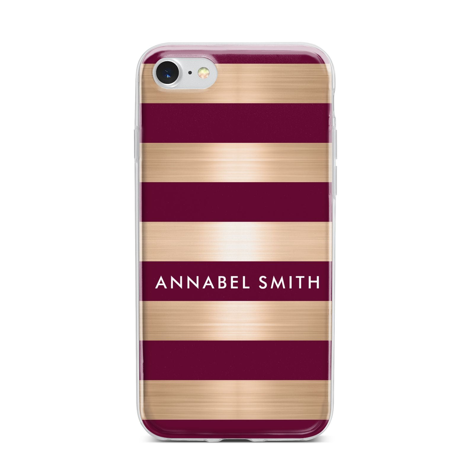 Personalised Burgundy Gold Name Initials iPhone 7 Bumper Case on Silver iPhone