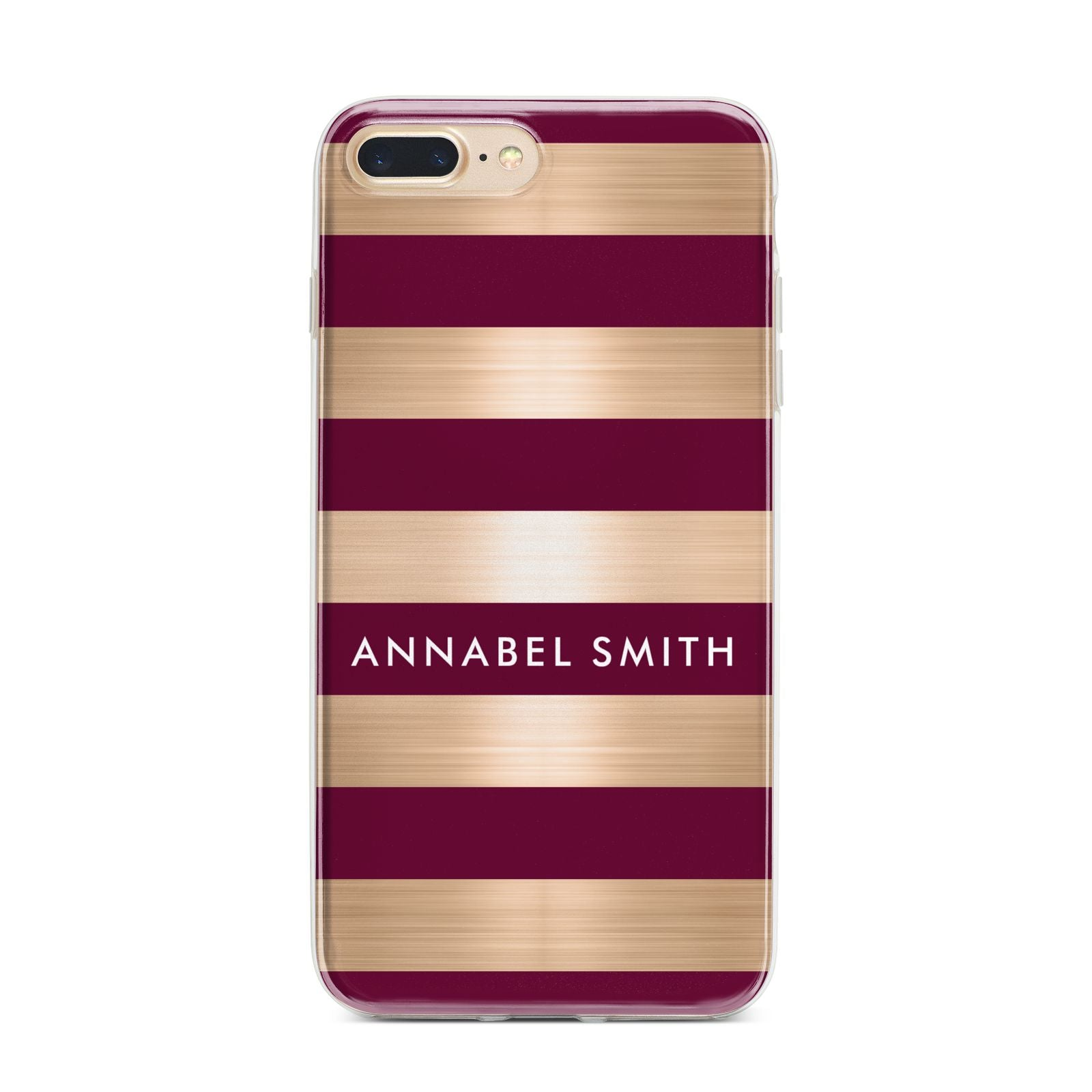 Personalised Burgundy Gold Name Initials iPhone 7 Plus Bumper Case on Gold iPhone