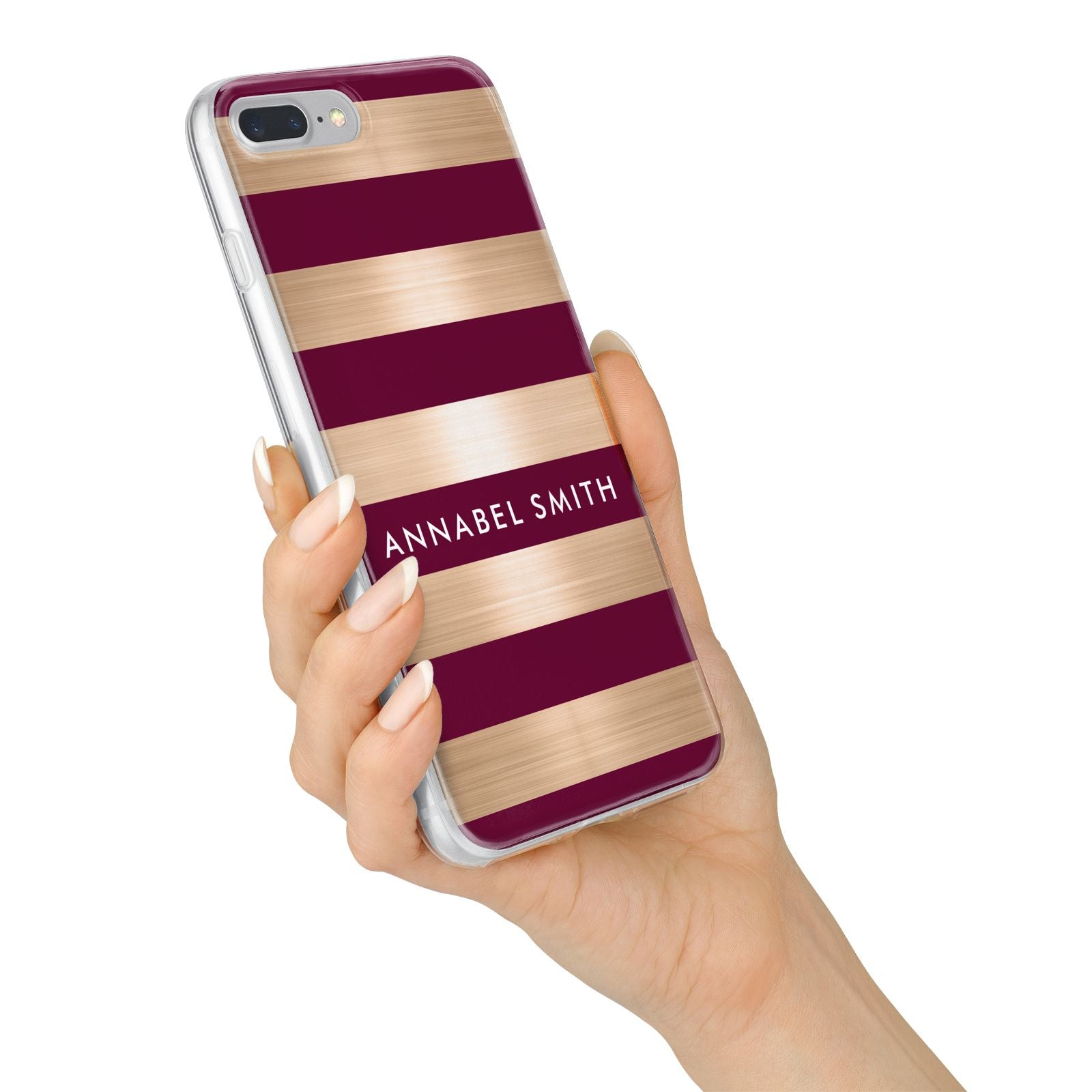 Personalised Burgundy Gold Name Initials iPhone 7 Plus Bumper Case on Silver iPhone Alternative Image