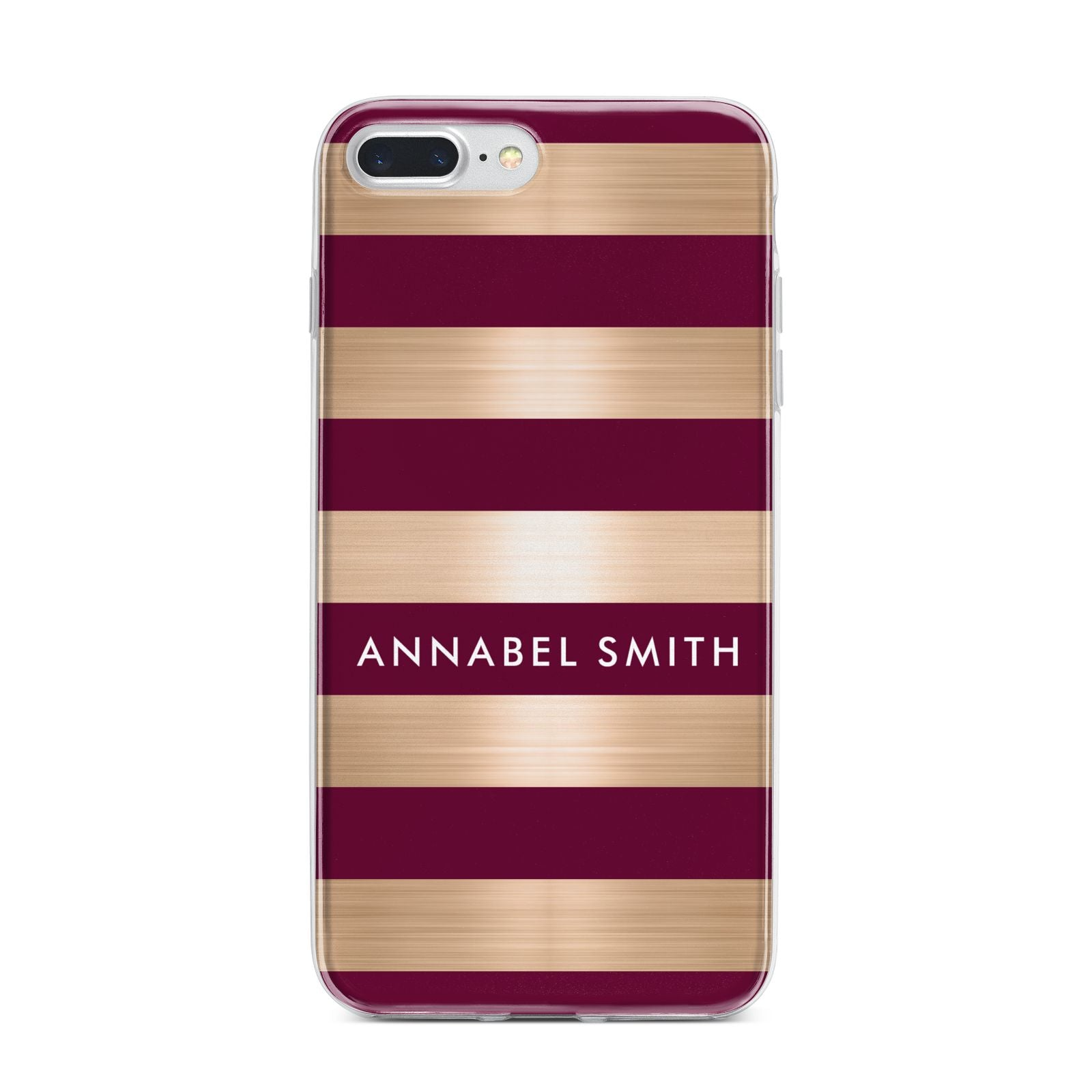 Personalised Burgundy Gold Name Initials iPhone 7 Plus Bumper Case on Silver iPhone