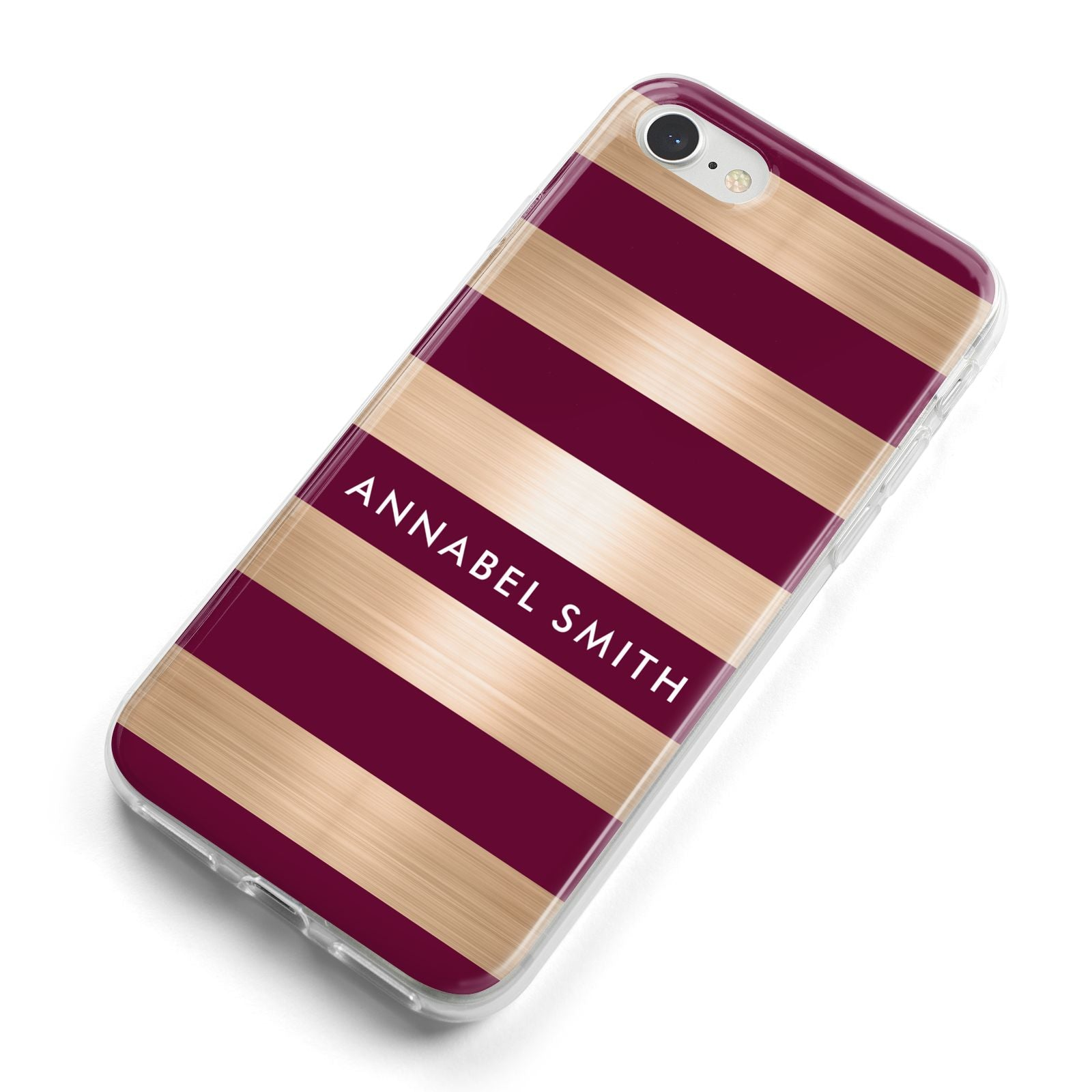 Personalised Burgundy Gold Name Initials iPhone 8 Bumper Case on Silver iPhone Alternative Image