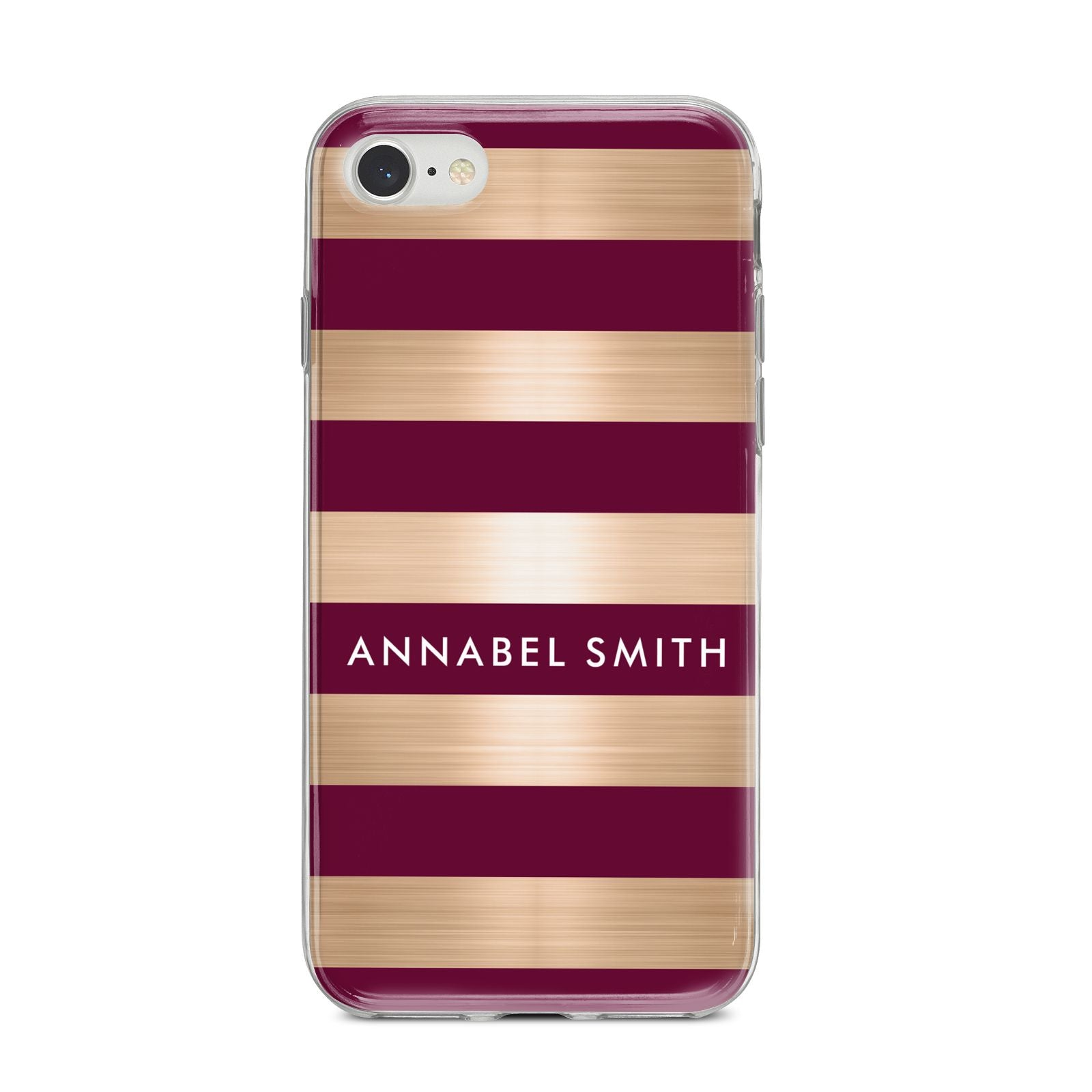 Personalised Burgundy Gold Name Initials iPhone 8 Bumper Case on Silver iPhone