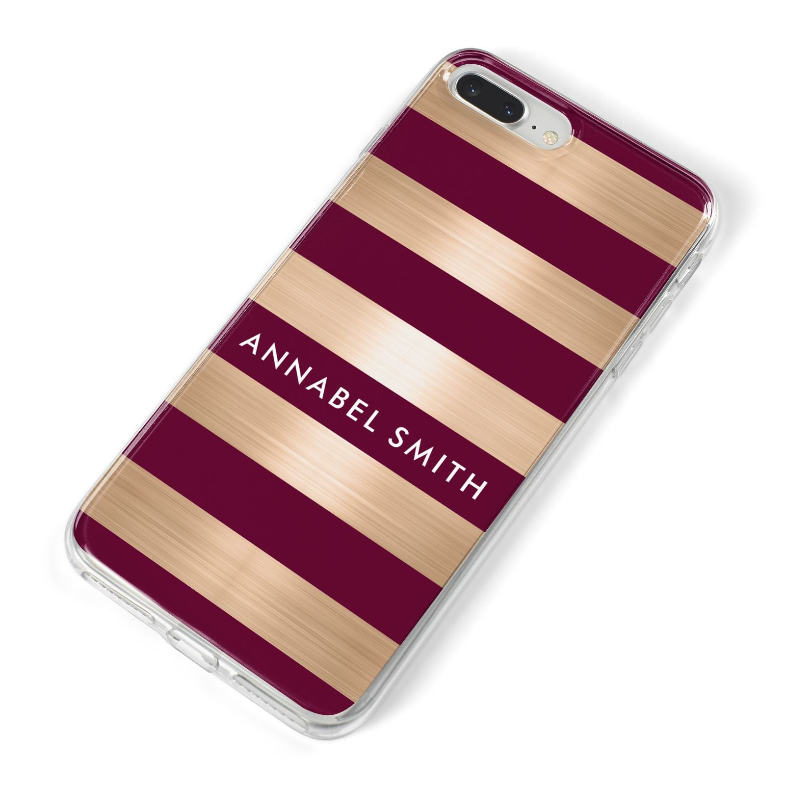 Personalised Burgundy Gold Name Initials iPhone 8 Plus Bumper Case on Silver iPhone Alternative Image