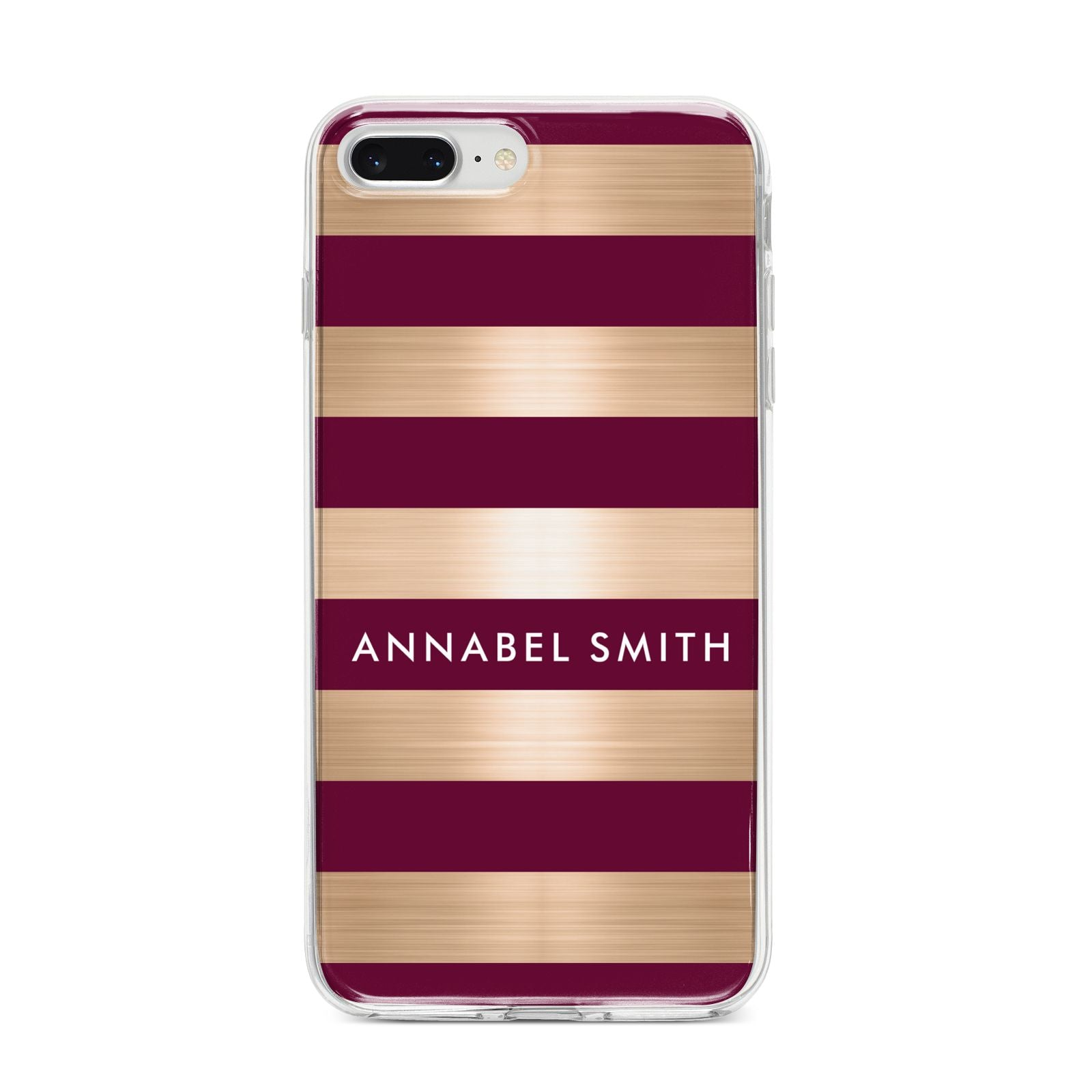 Personalised Burgundy Gold Name Initials iPhone 8 Plus Bumper Case on Silver iPhone