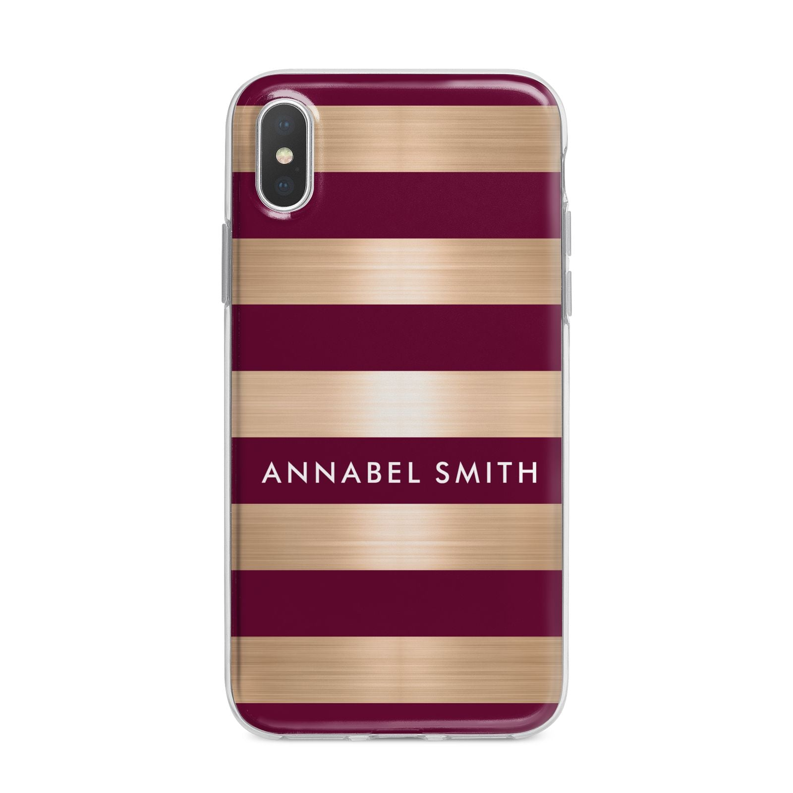Personalised Burgundy Gold Name Initials iPhone X Bumper Case on Silver iPhone Alternative Image 1