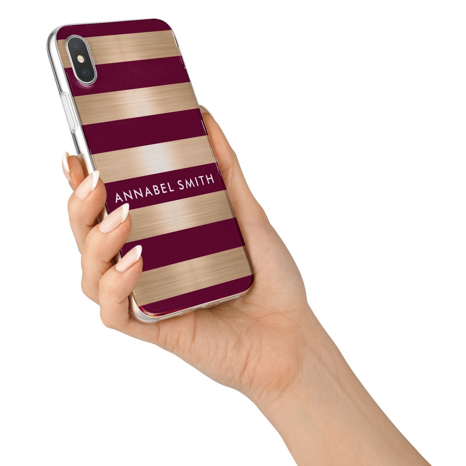 Personalised Burgundy Gold Name Initials iPhone X Bumper Case on Silver iPhone Alternative Image 2