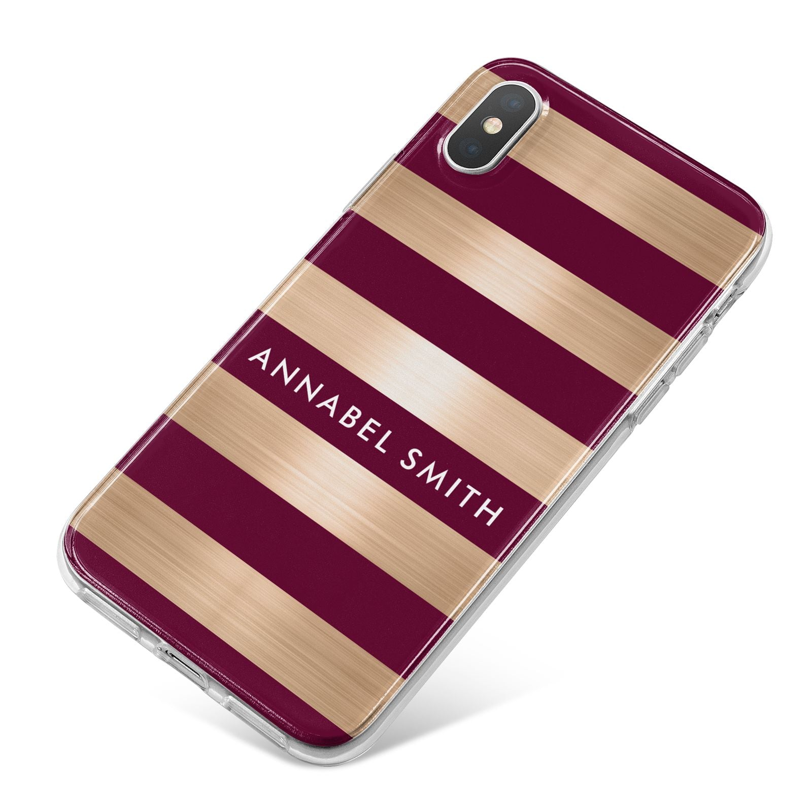 Personalised Burgundy Gold Name Initials iPhone X Bumper Case on Silver iPhone