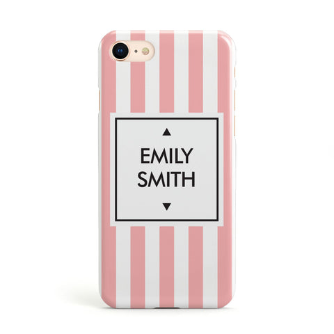 Personalised Candy Striped Name Initials Apple iPhone Case