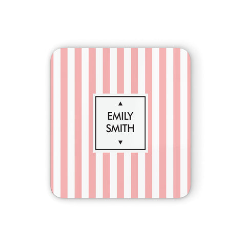 Personalised Candy Striped Name Initials Coasters set of 4
