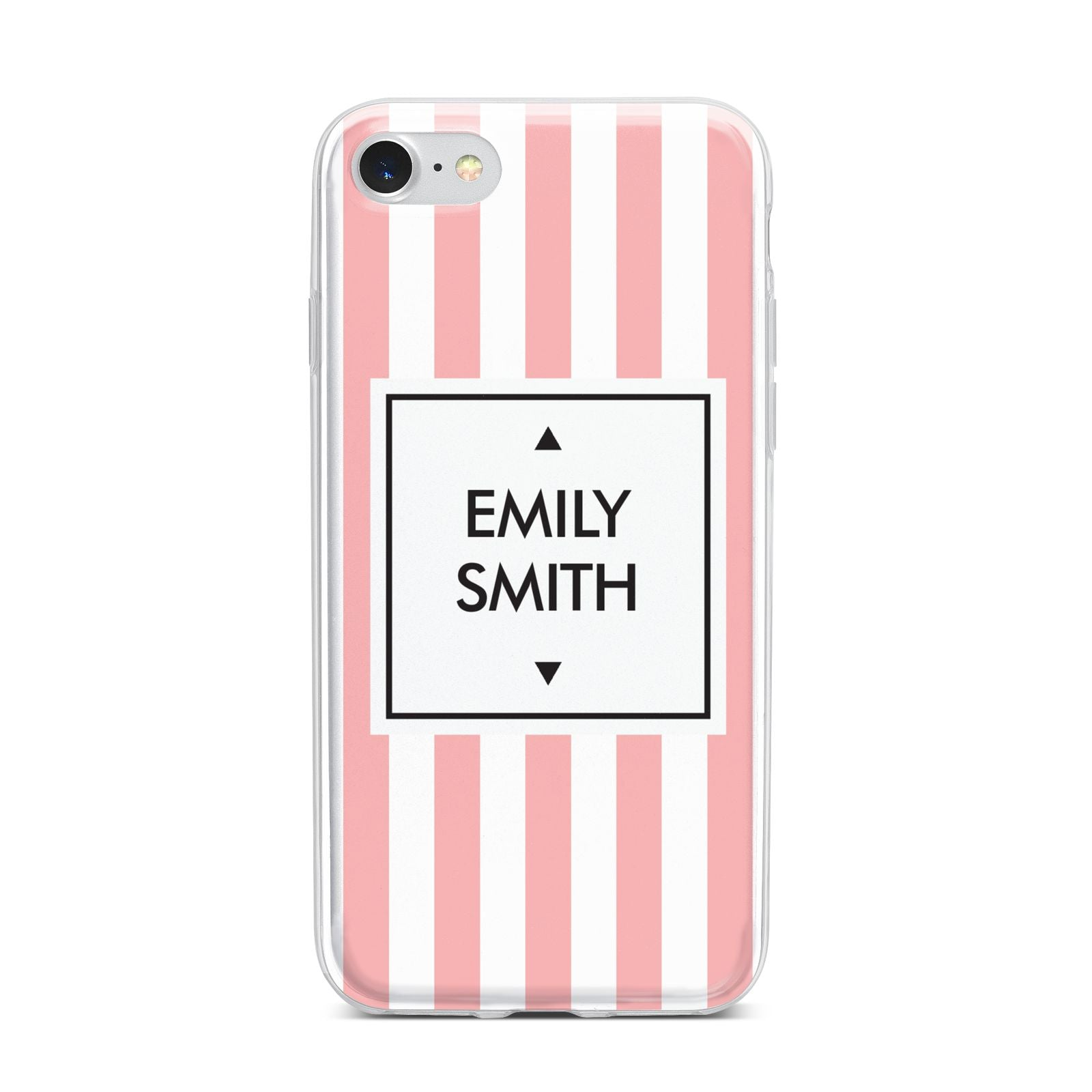 Personalised Candy Striped Name Initials iPhone 7 Bumper Case on Silver iPhone