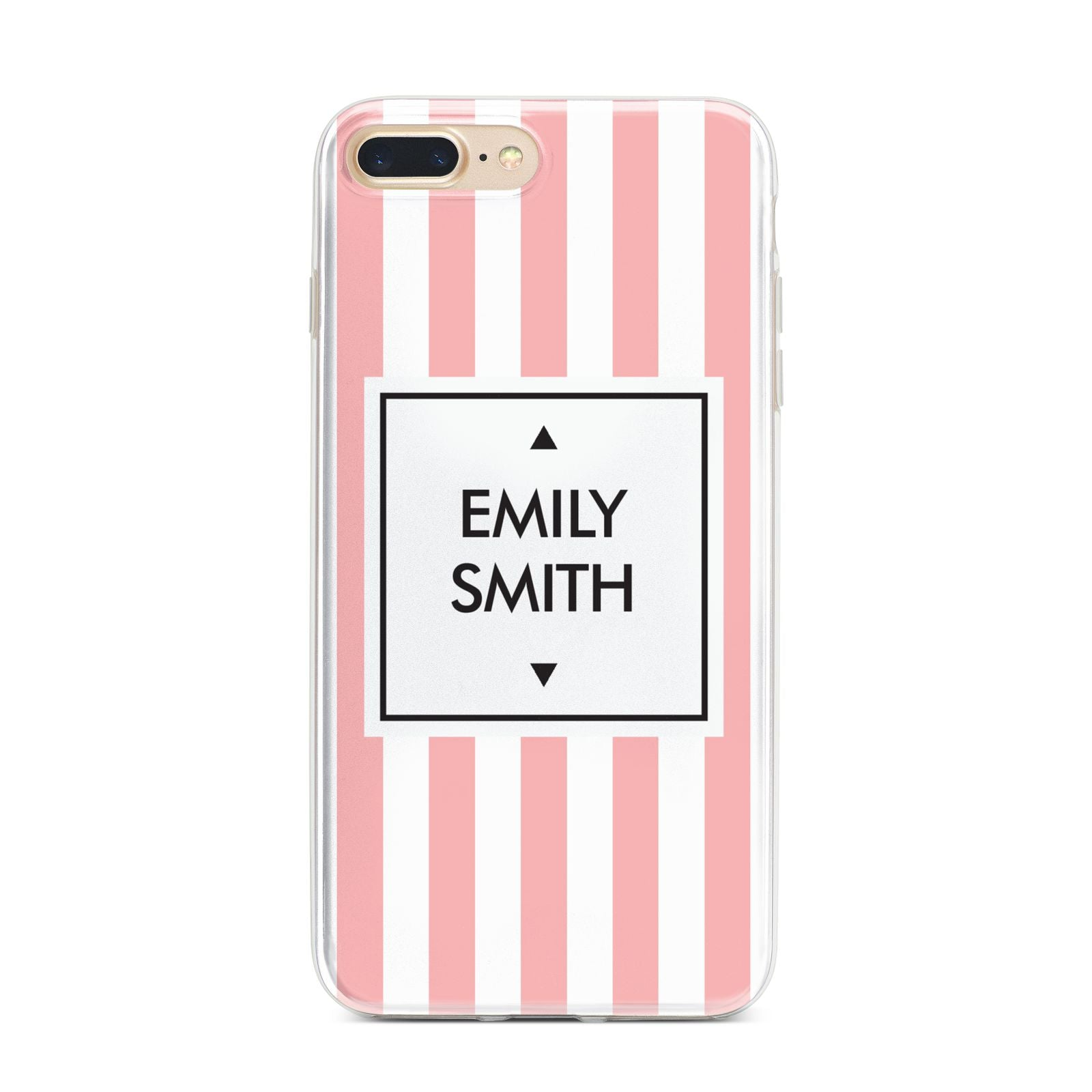 Personalised Candy Striped Name Initials iPhone 7 Plus Bumper Case on Gold iPhone